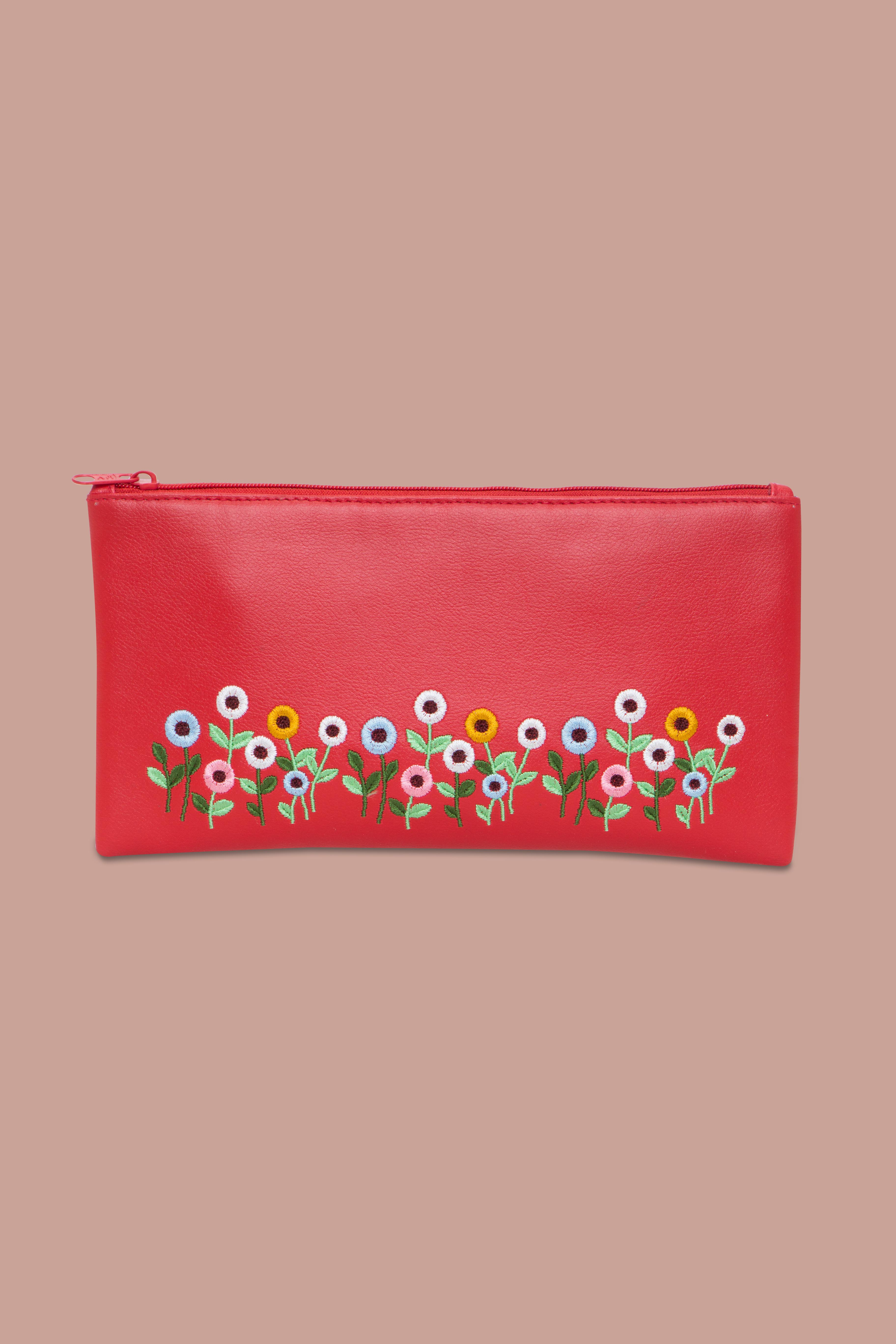 Folle Embroidery Red Clutch