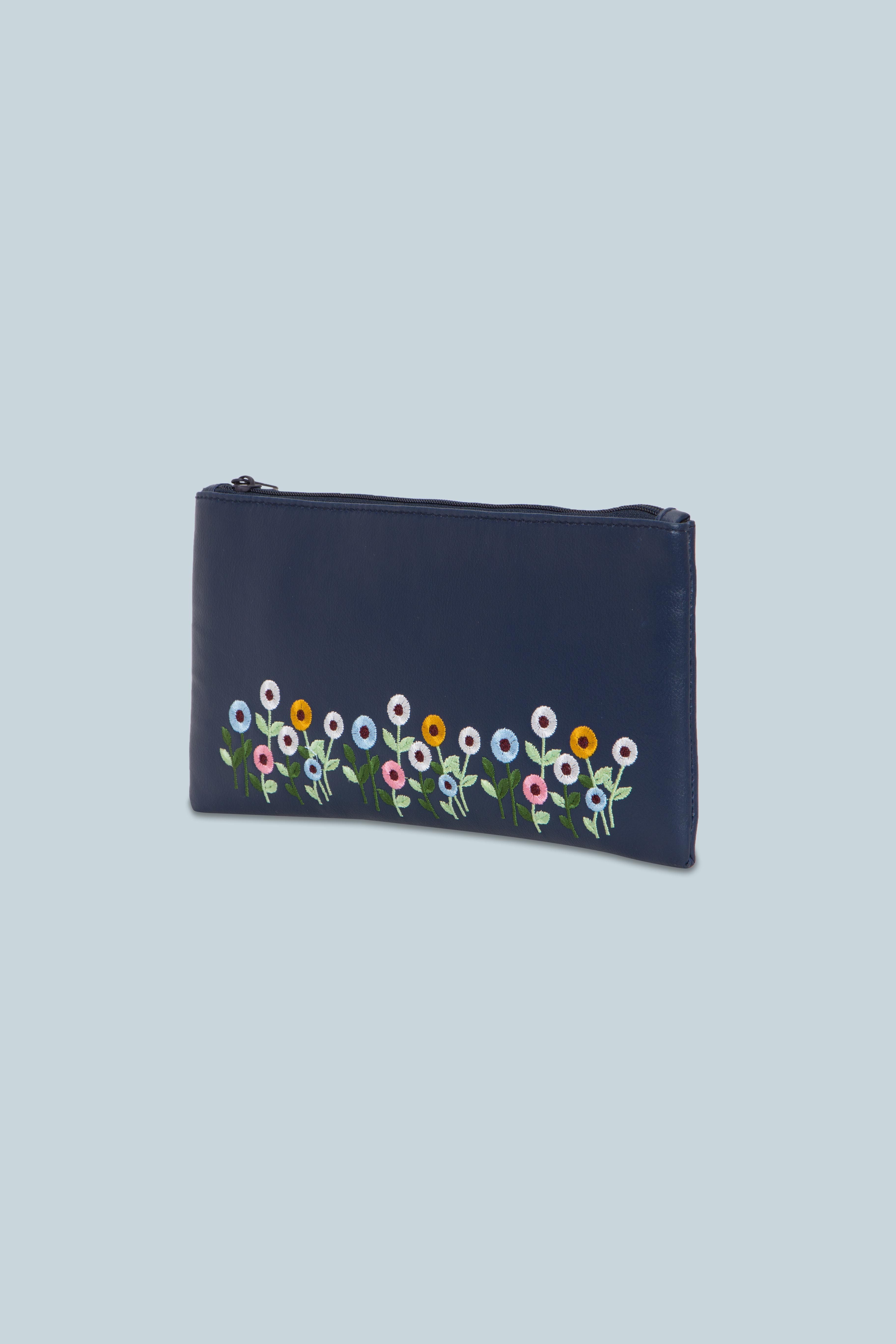 Folle Embroidery Blue Clutch