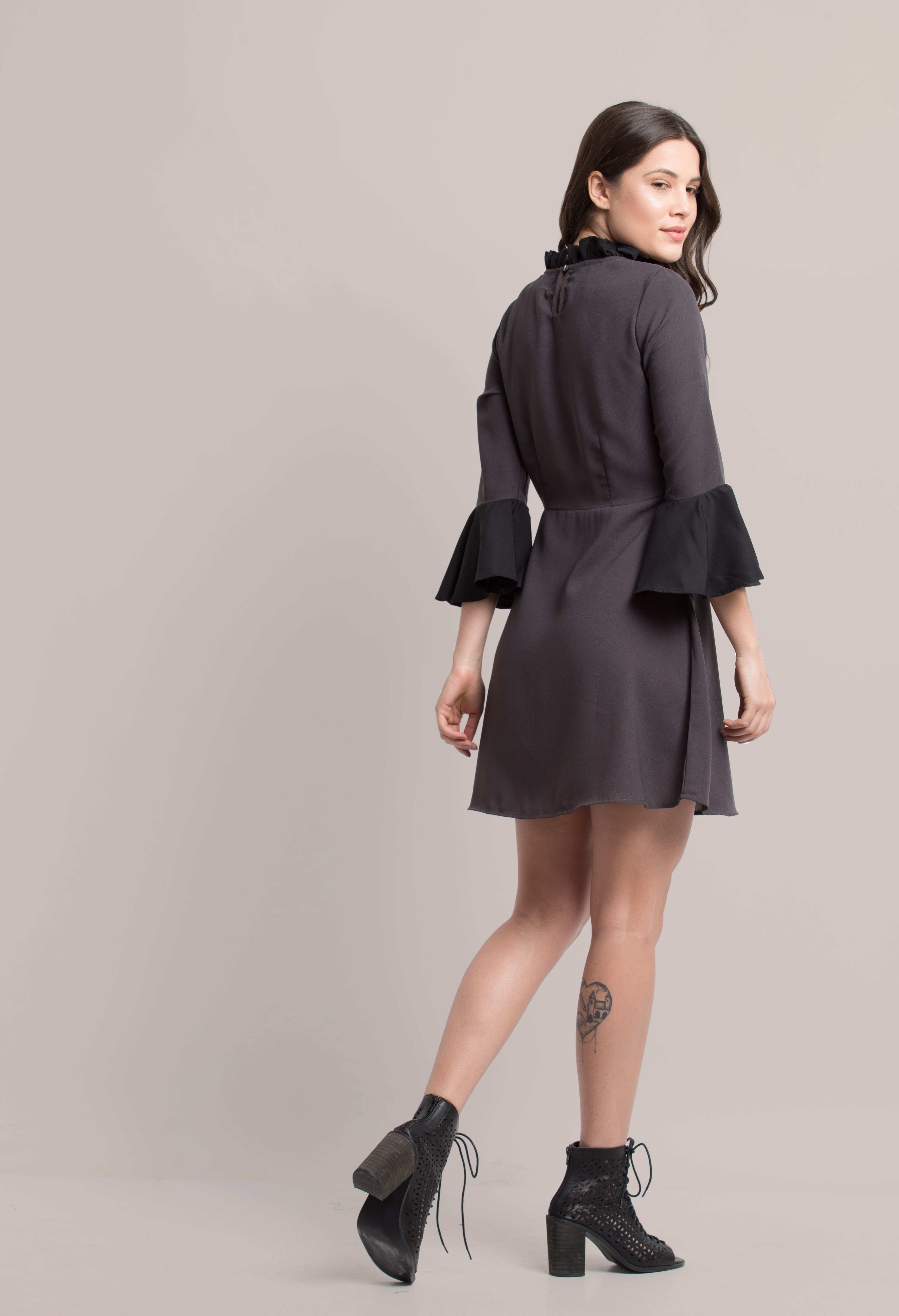 Folle Grey Black Solid Color Party Wear Dress