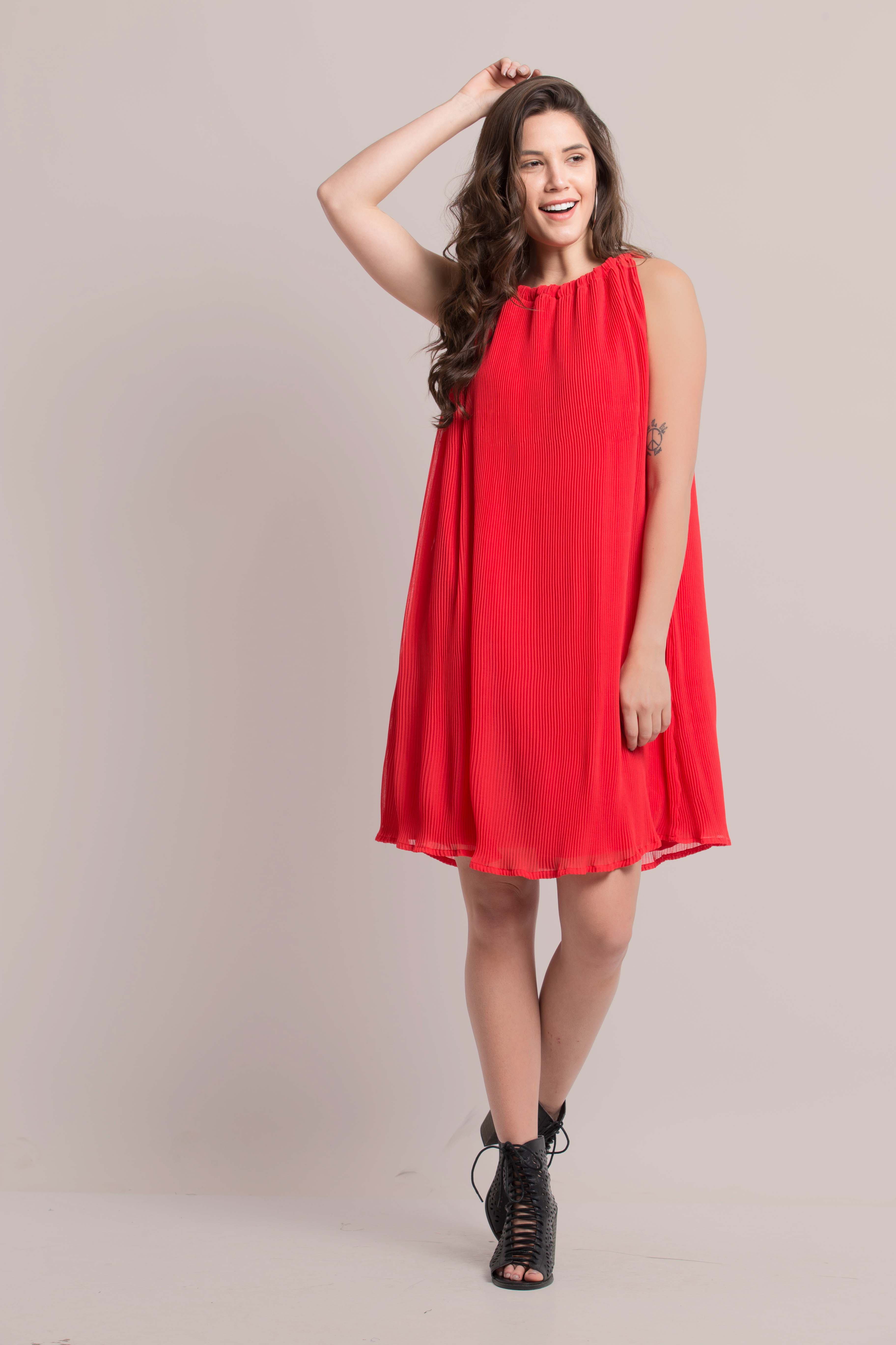 Folle Party Red Pleated Halter Neck Short Dress