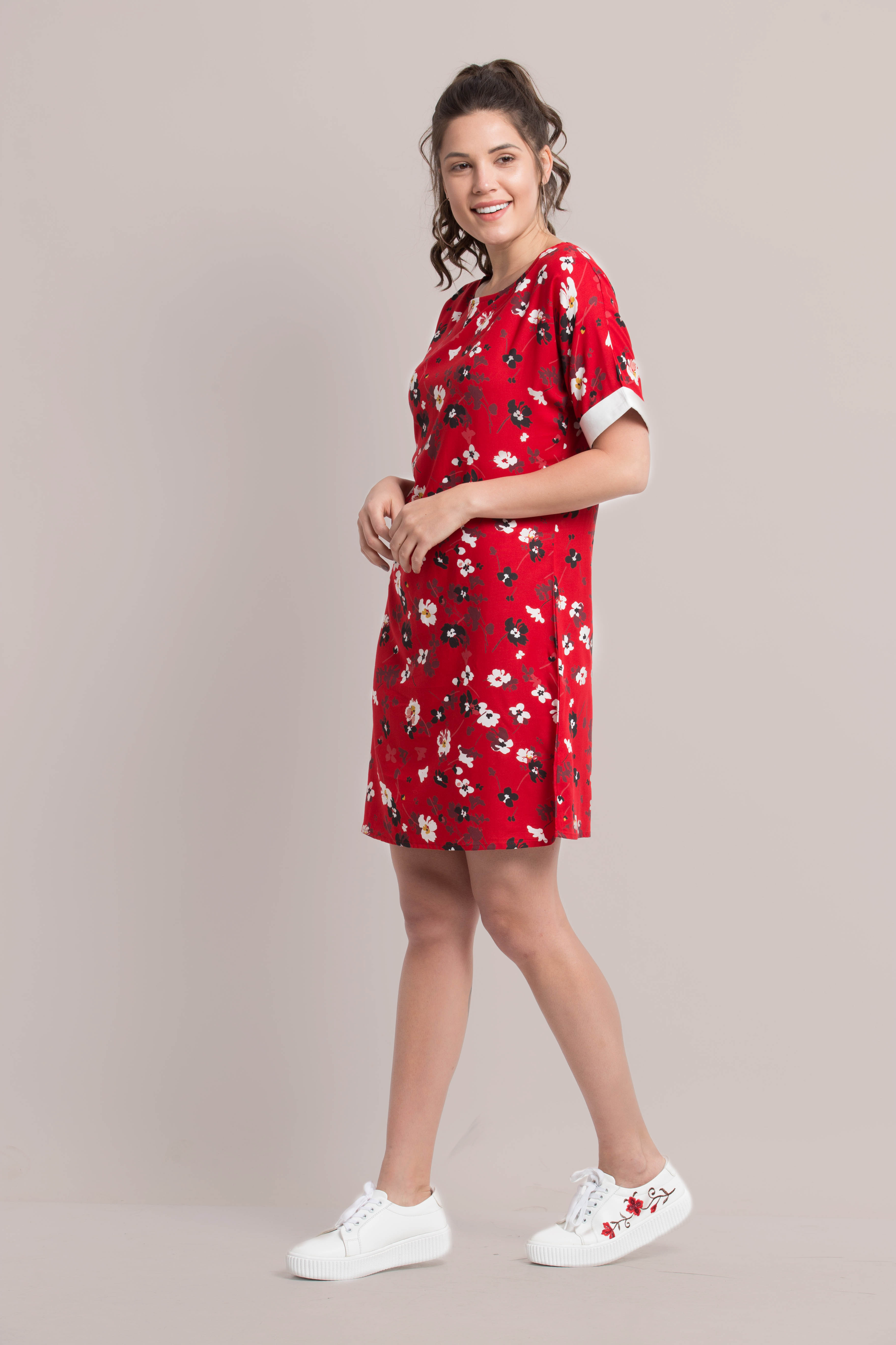 Folle Red Floral Half Sleeves Cotton Casual Dress