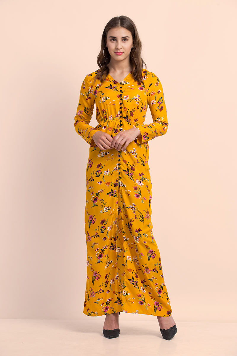Folle Yellow Floral Maxi Dress With Front Slit Beach Wear