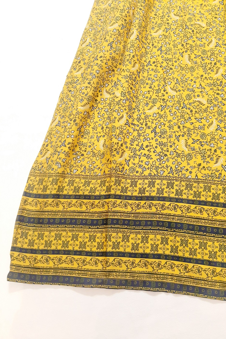 Folle Cold Shoulder Yellow Cotton Printed Party Wear Maxi Dress