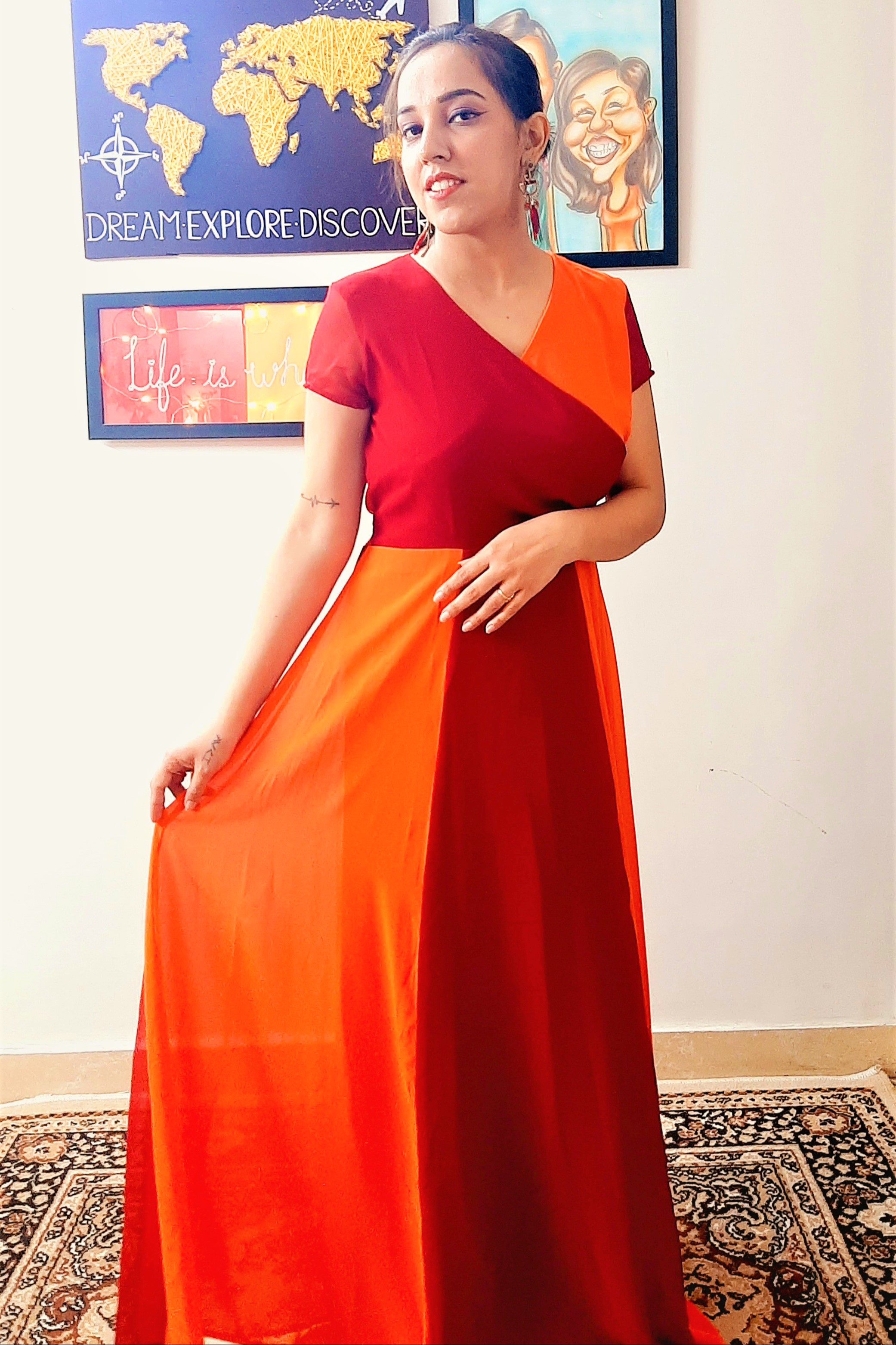 Folle Orange And Red Plain Party Wear Long Maxi Dress