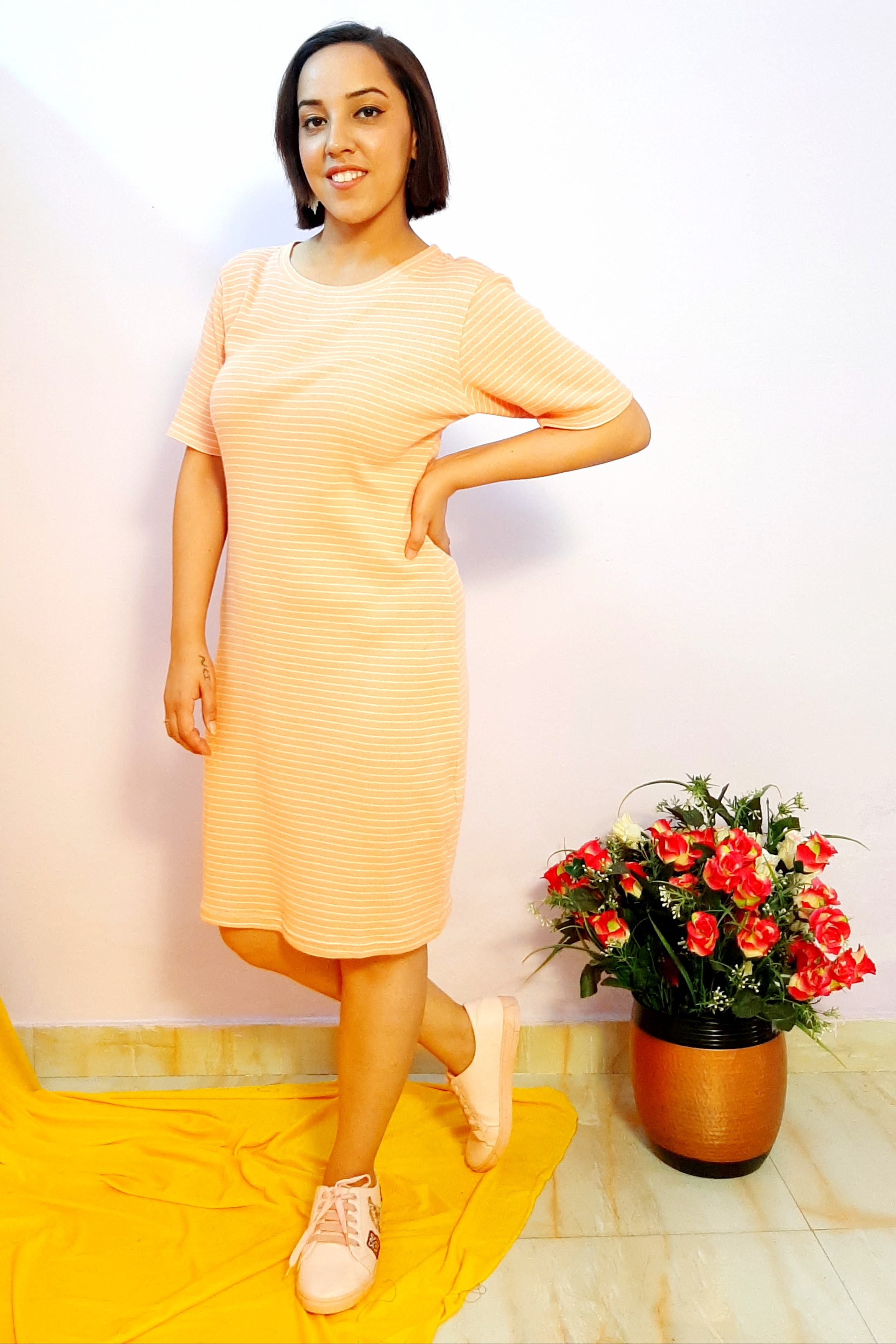 Folle Stripes Orange Knitted Casual Dress
