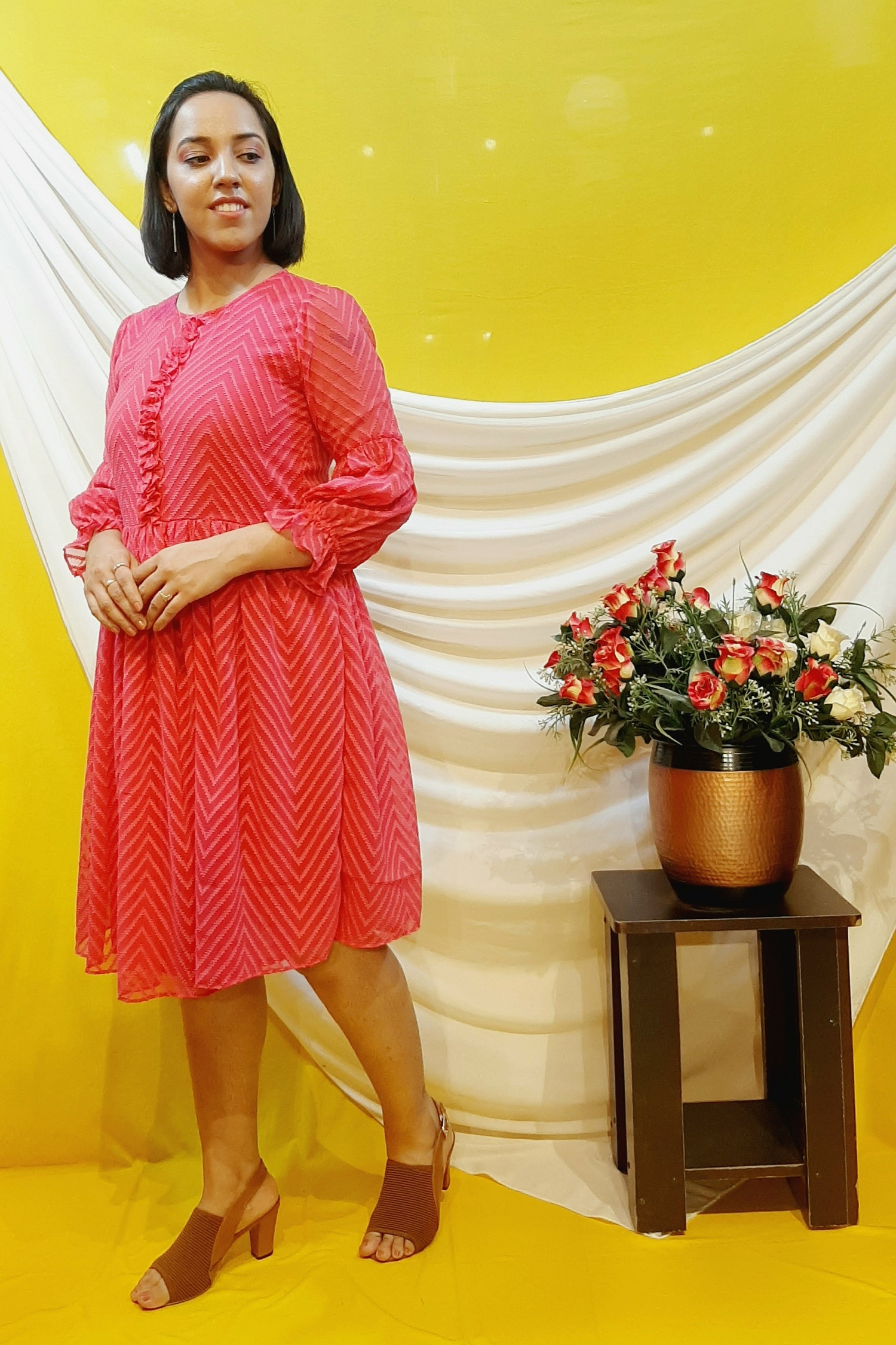 Folle Fusia Pink Georgette Casual Dress