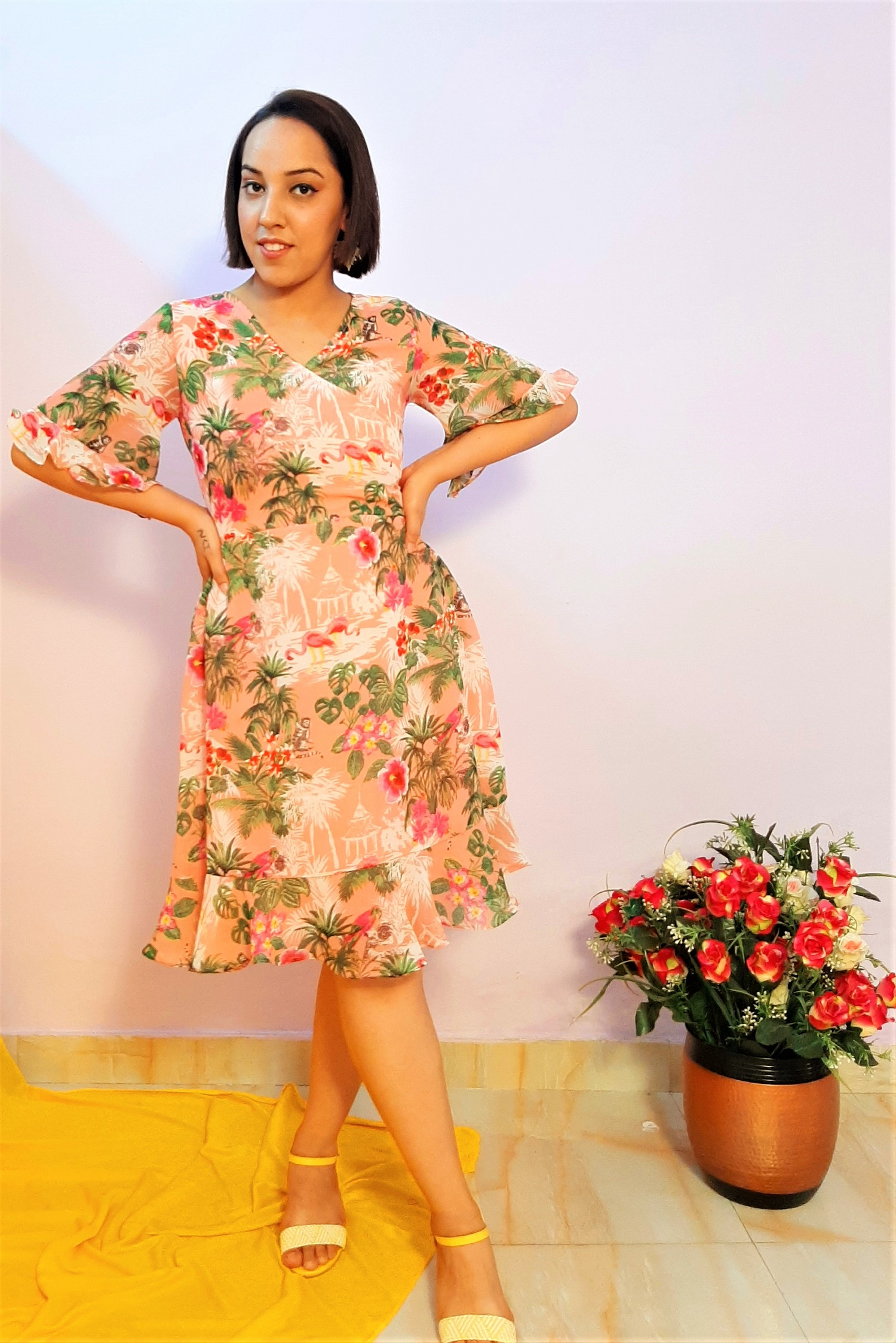 Folle Pink Tropical Print Short Party Dress