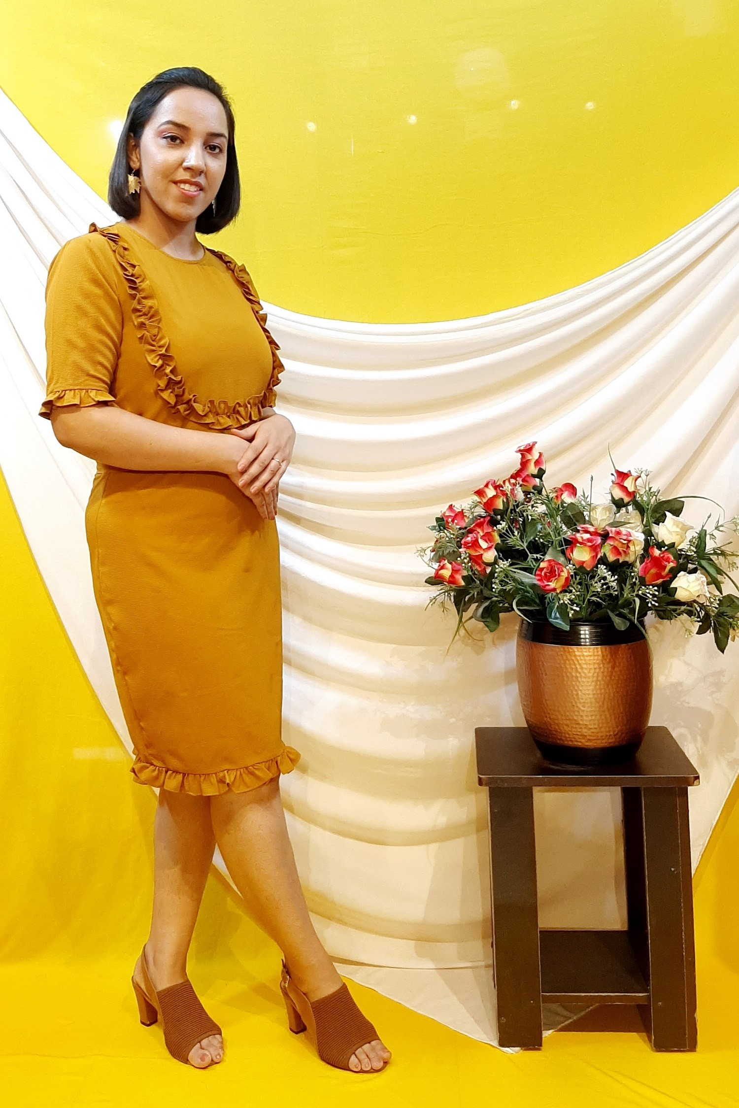 Folle Mustard Frilled Solid Party Wear Dress