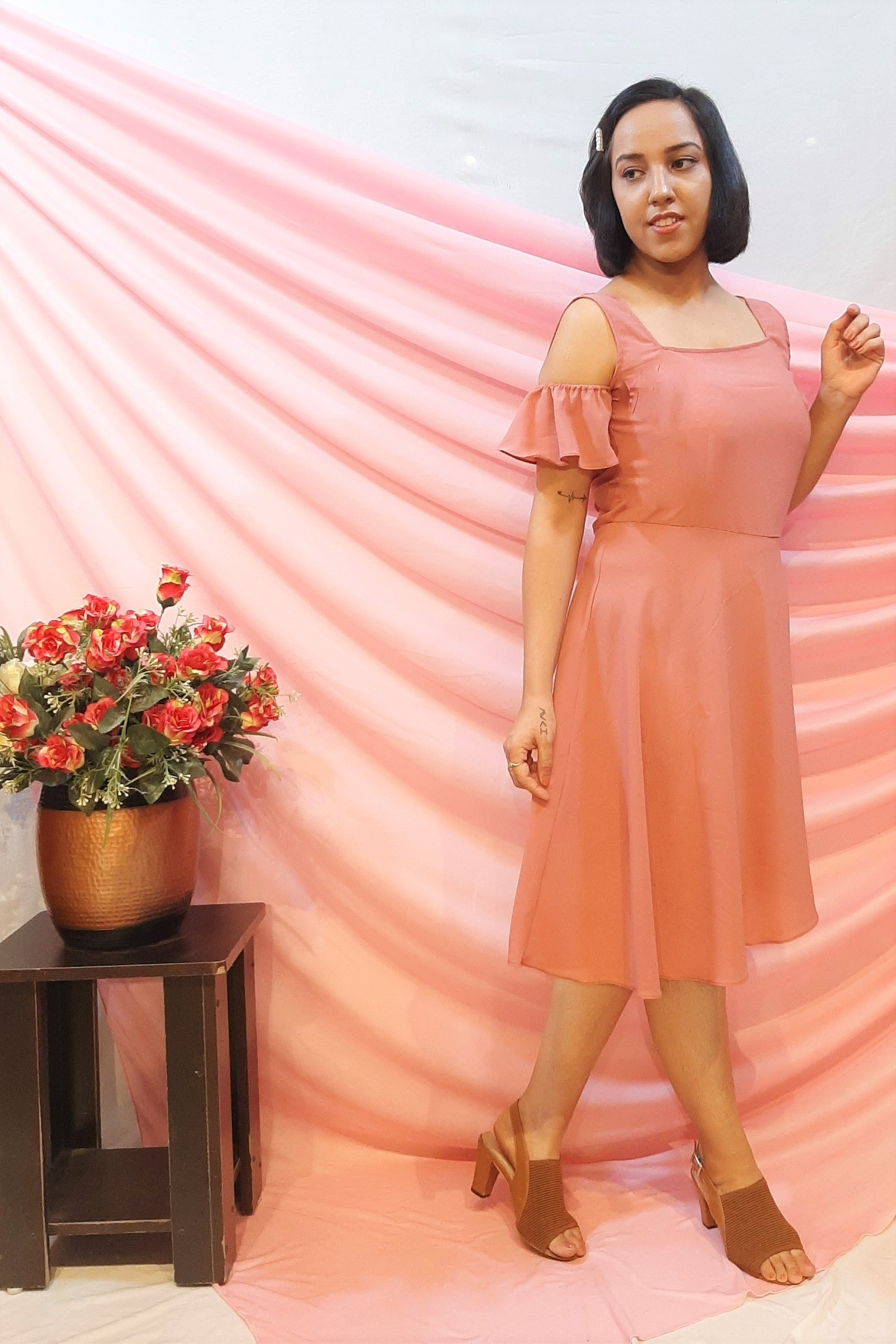 Folle Pink Solid Party Dress