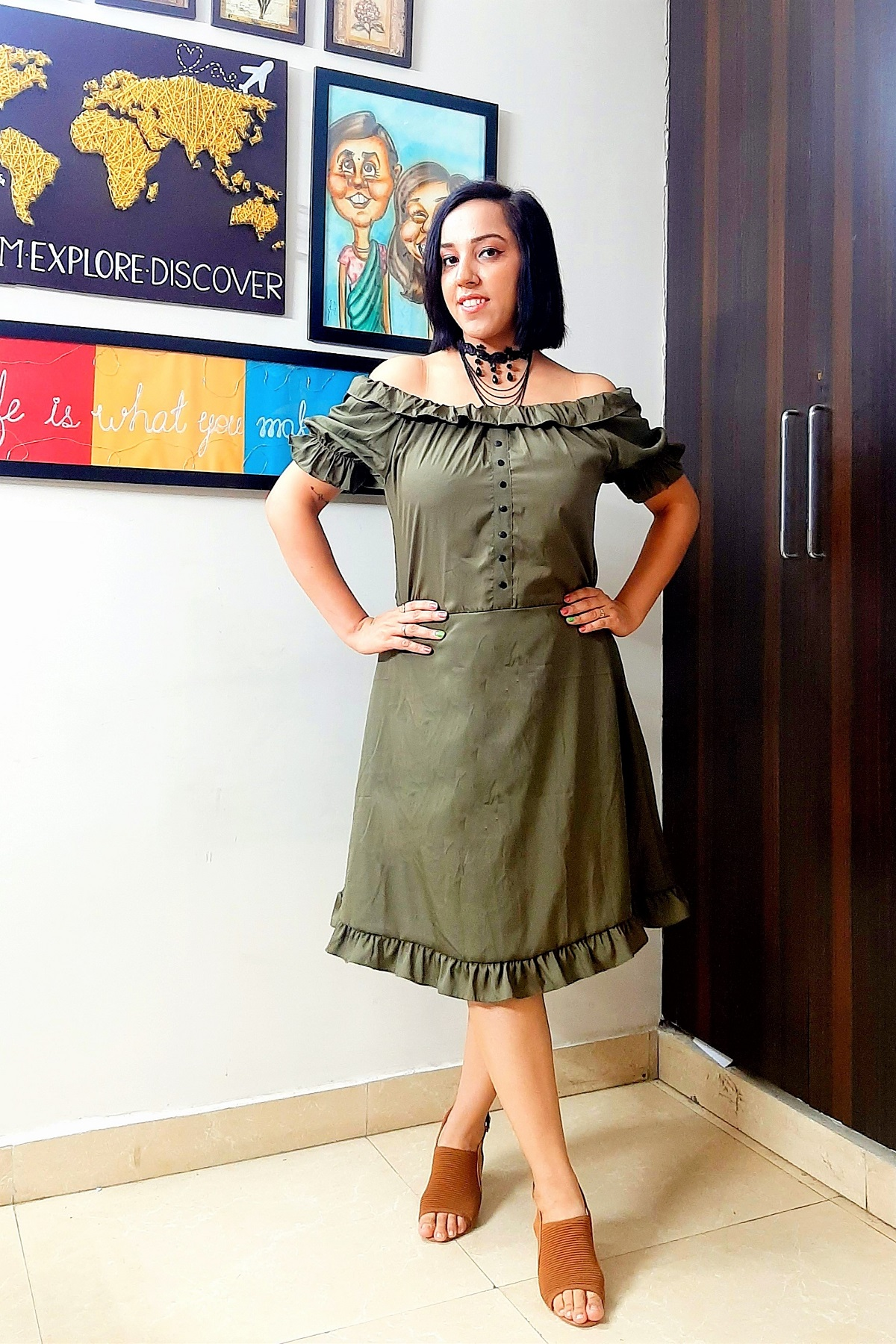 Folle Military Green Solid Party Wear Off Shoulder Dress