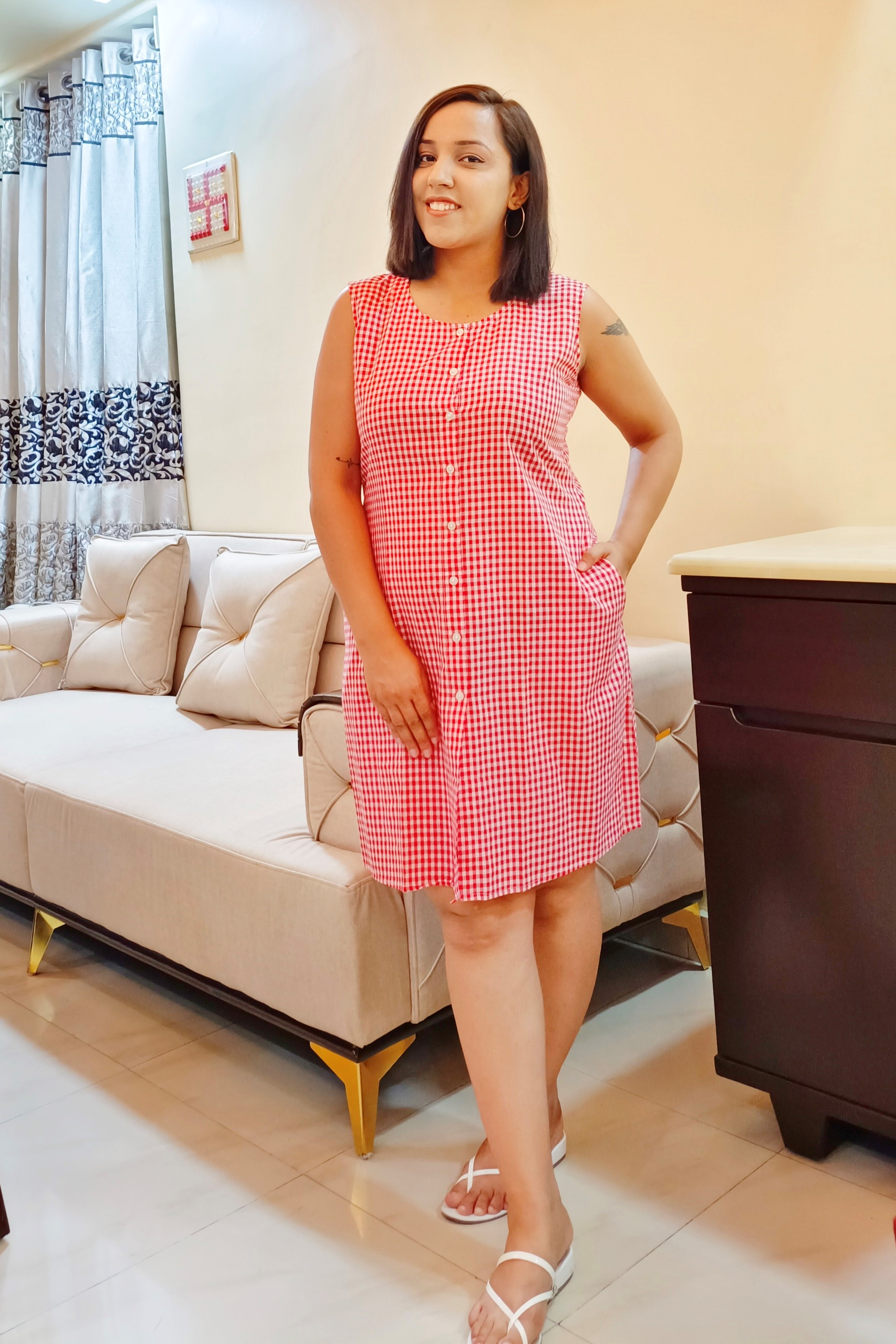 Folle Red Check Cotton Shirt Dress With Pocket