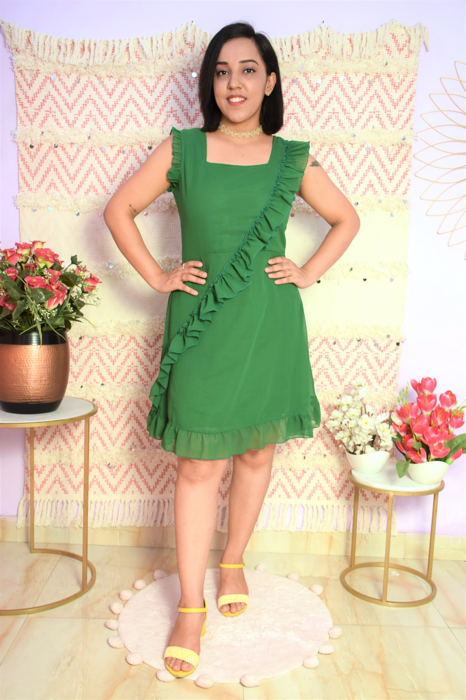 Folle Green Solid Georgette Frill Party Dress
