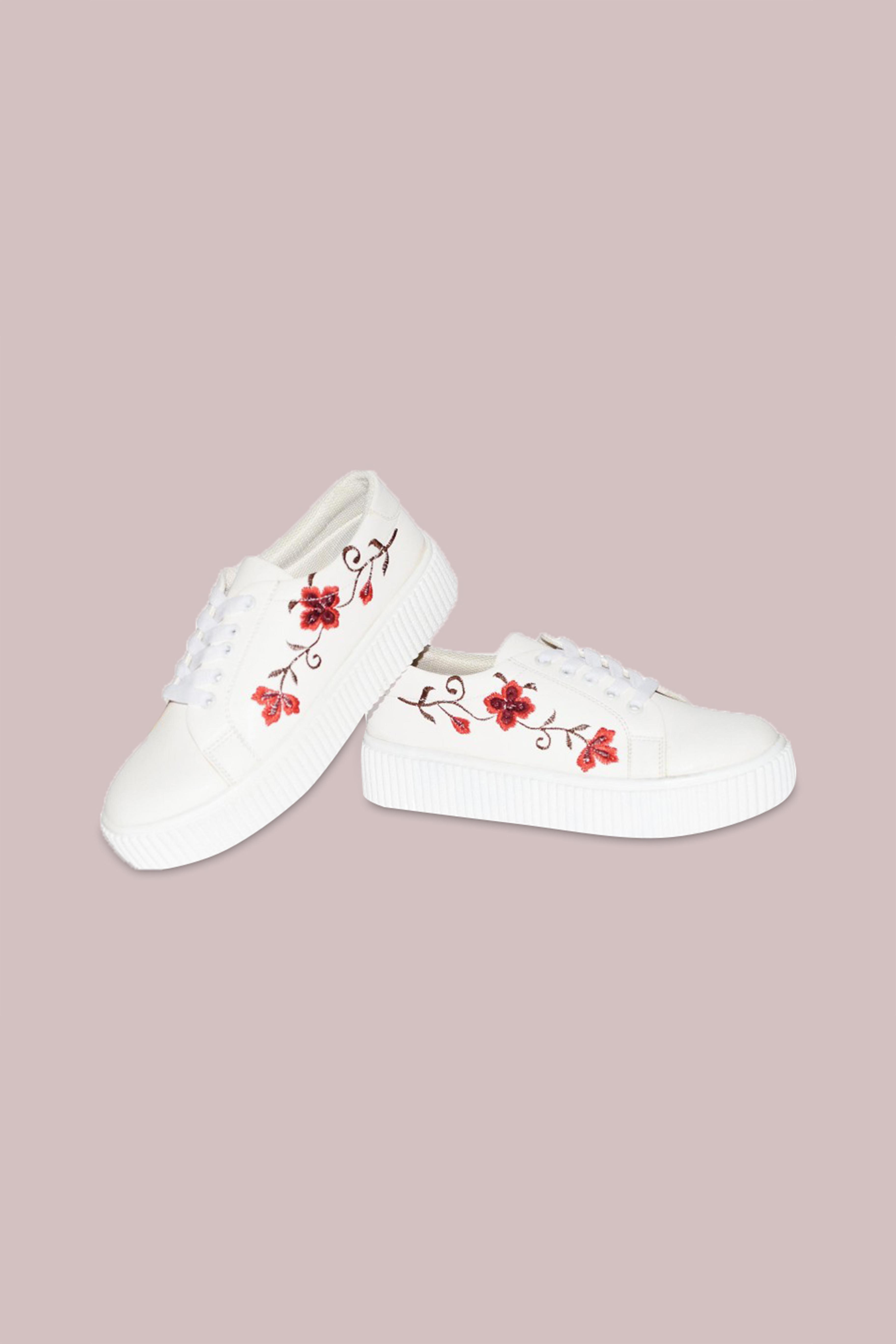 Folle Red Embroidery White Casual Sneakers