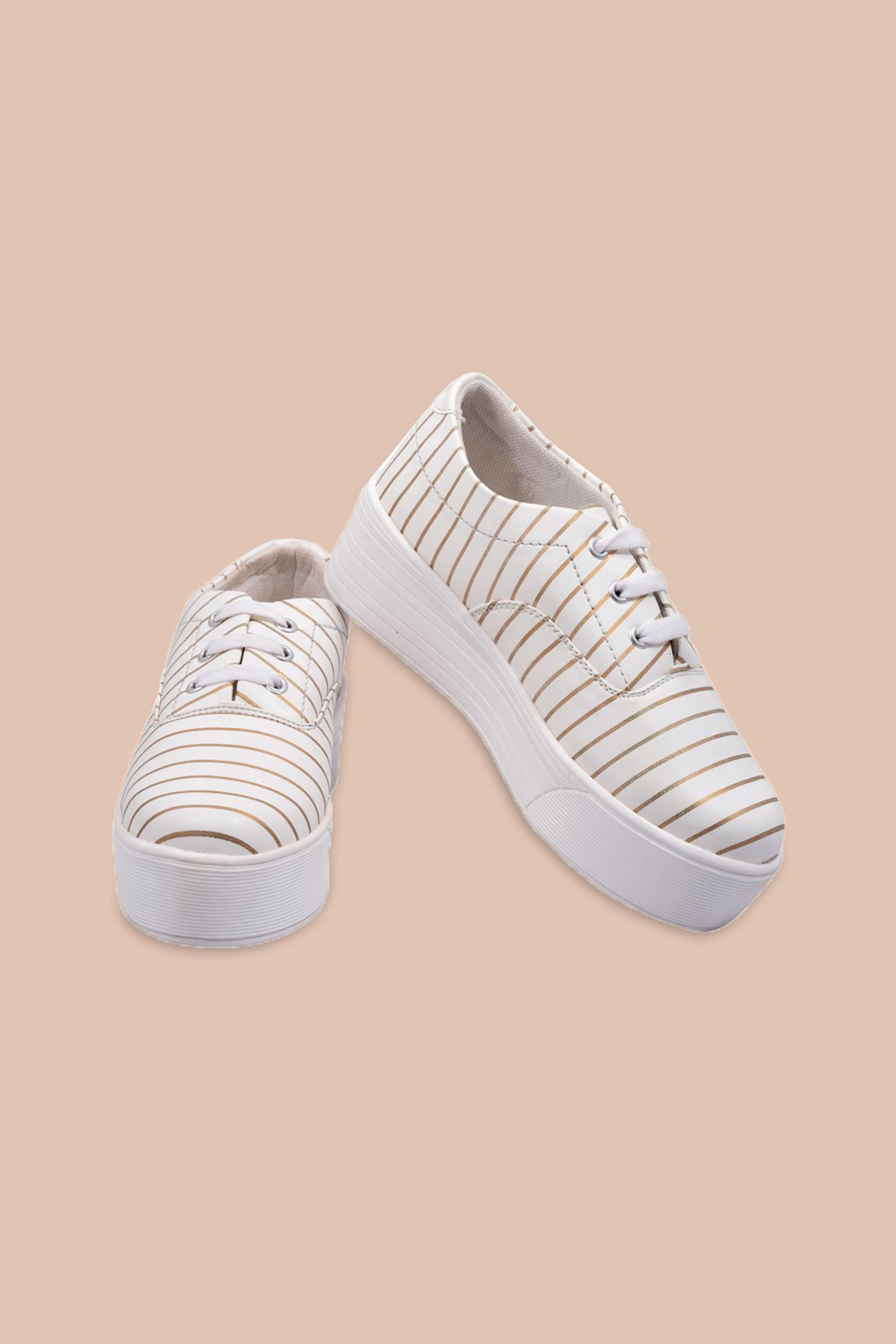 Folle Gold White Stripes Smart Sneakers