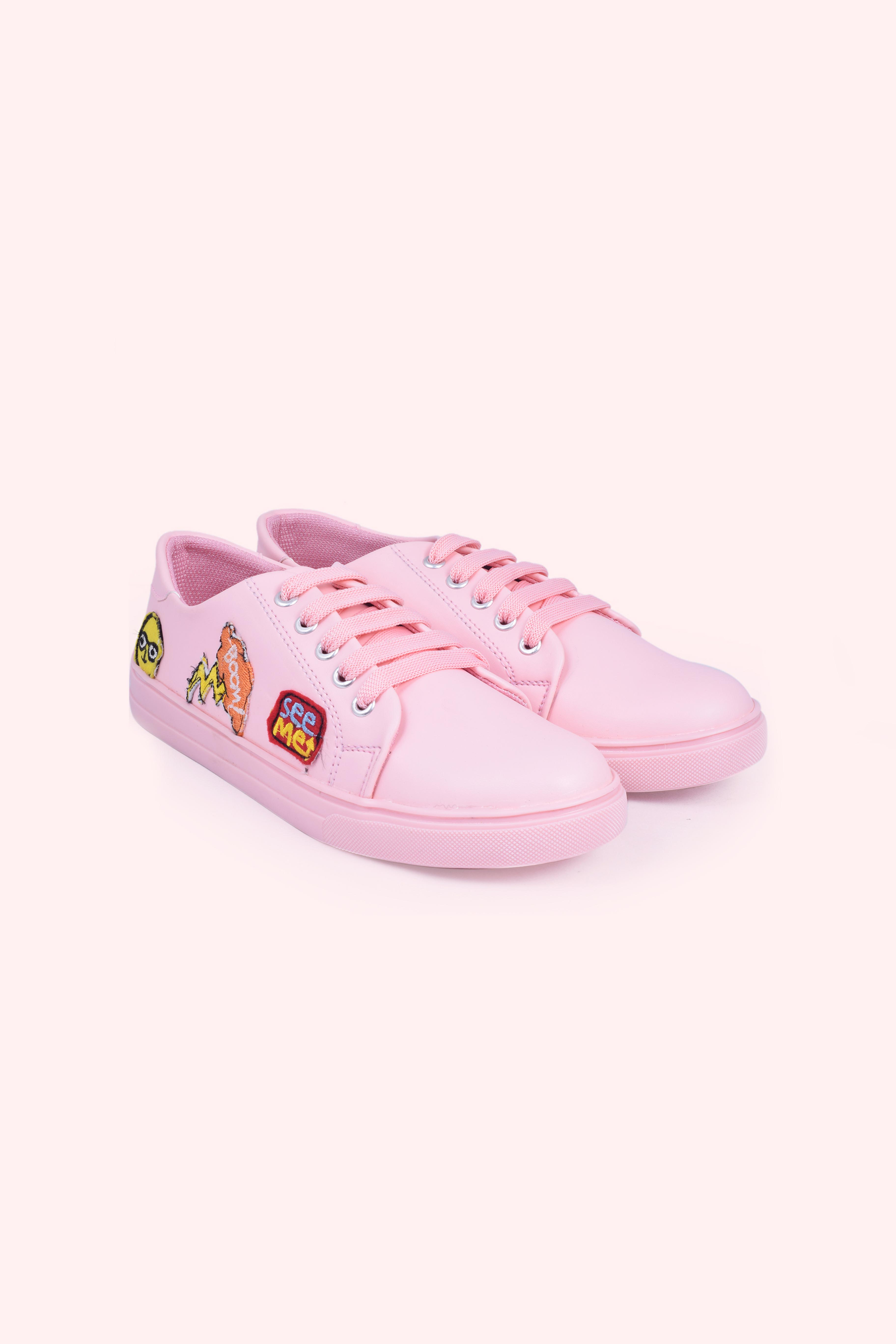Folle Funky Sticker Pink Embroidery Casual Sneakers