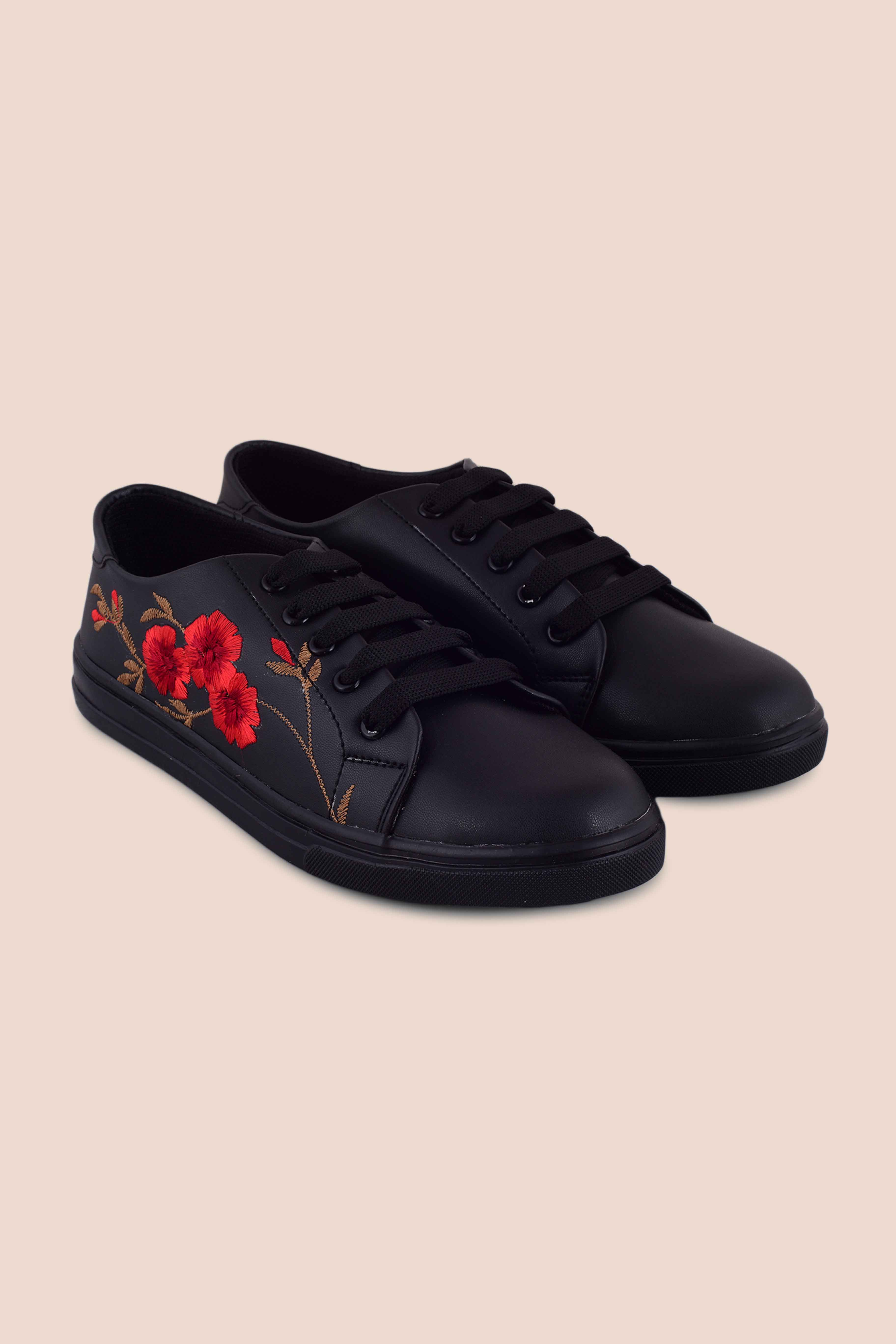 Folle Red Embroidery Black Party Wear Sneakers