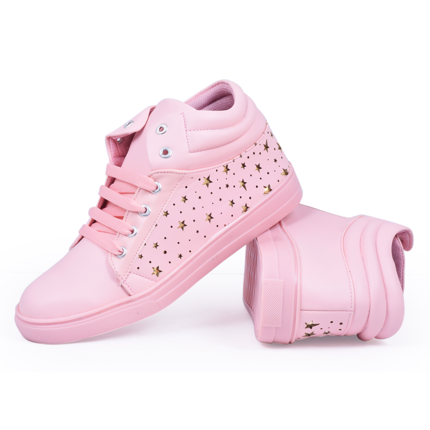 Folle Pink High Ankle Party Wear Sneakers