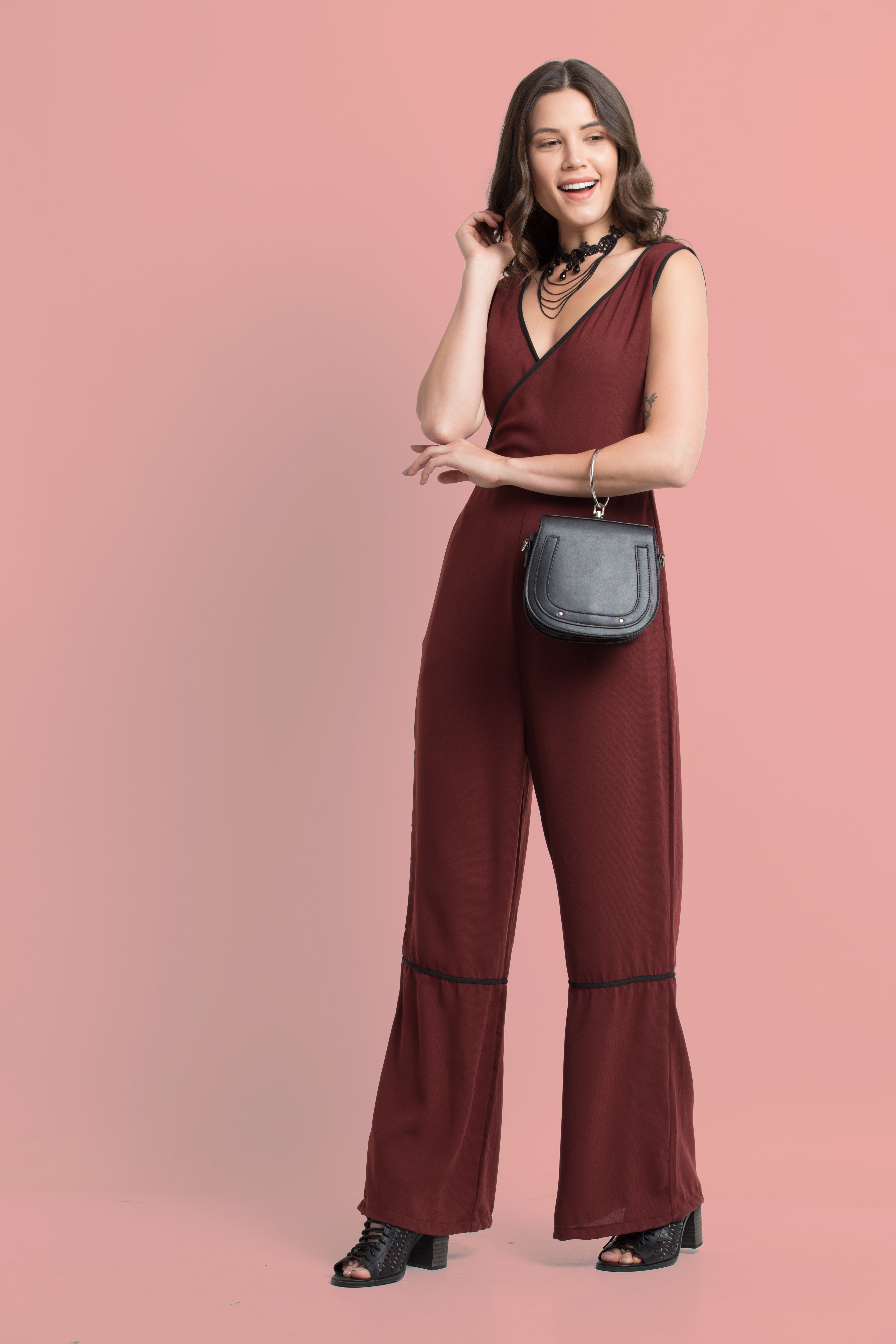 Folle Solid Maroon Party Wear Flaired Jumpsuit
