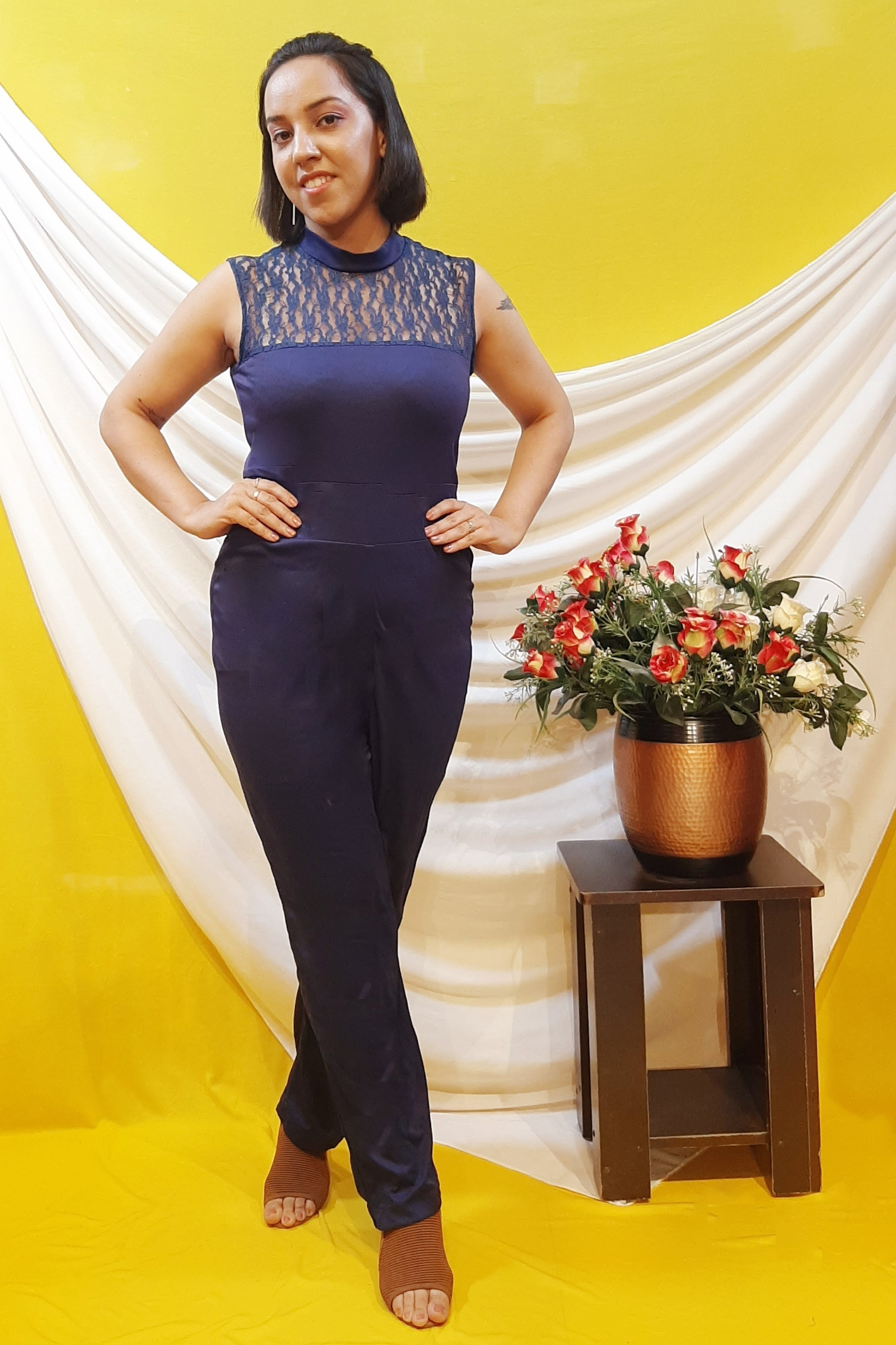 Folle Navy Blue High Neck Party Wear Jumpsuit For Women