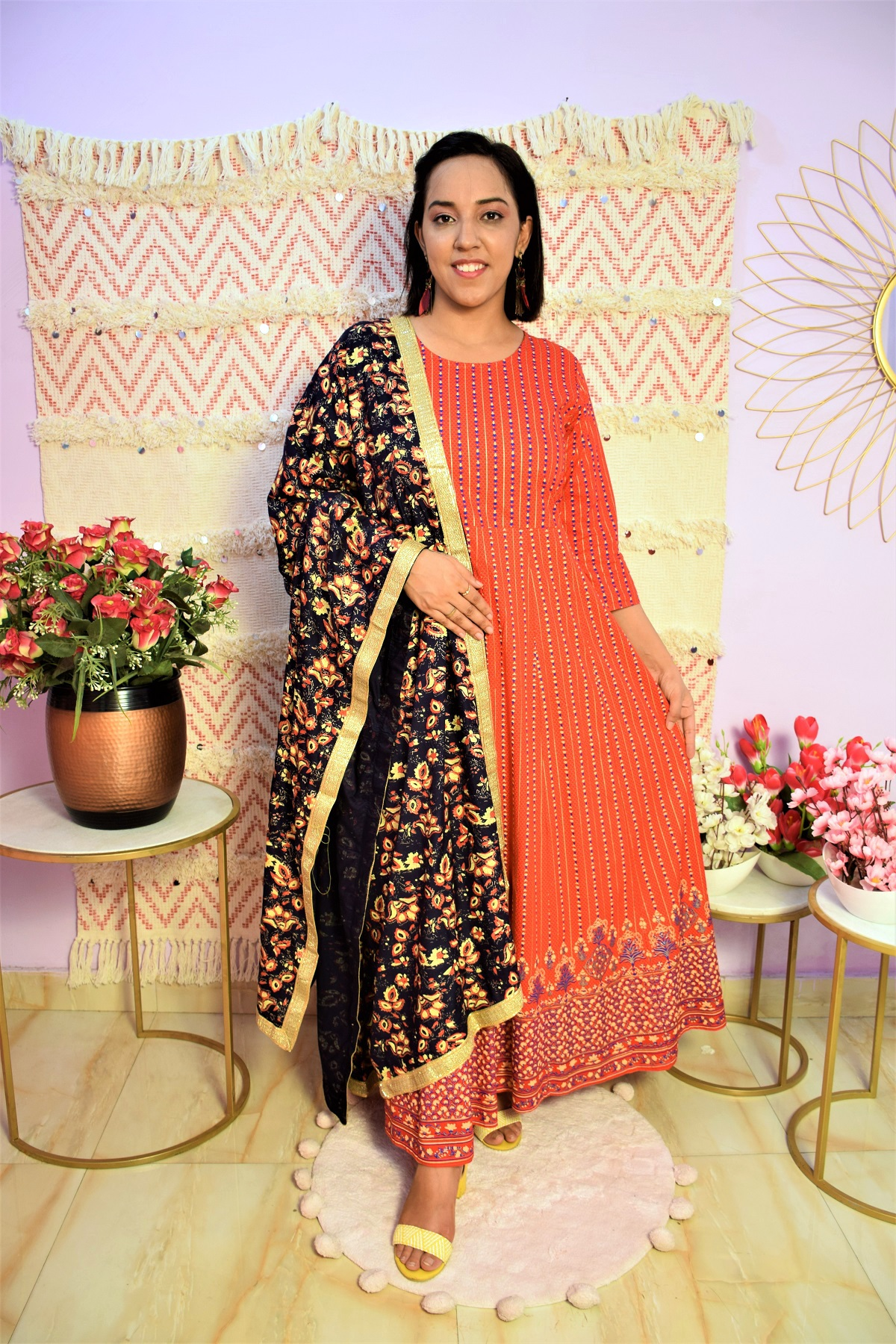 Folle Red Heavy Cotton Dress With Blue Gold Duppatta