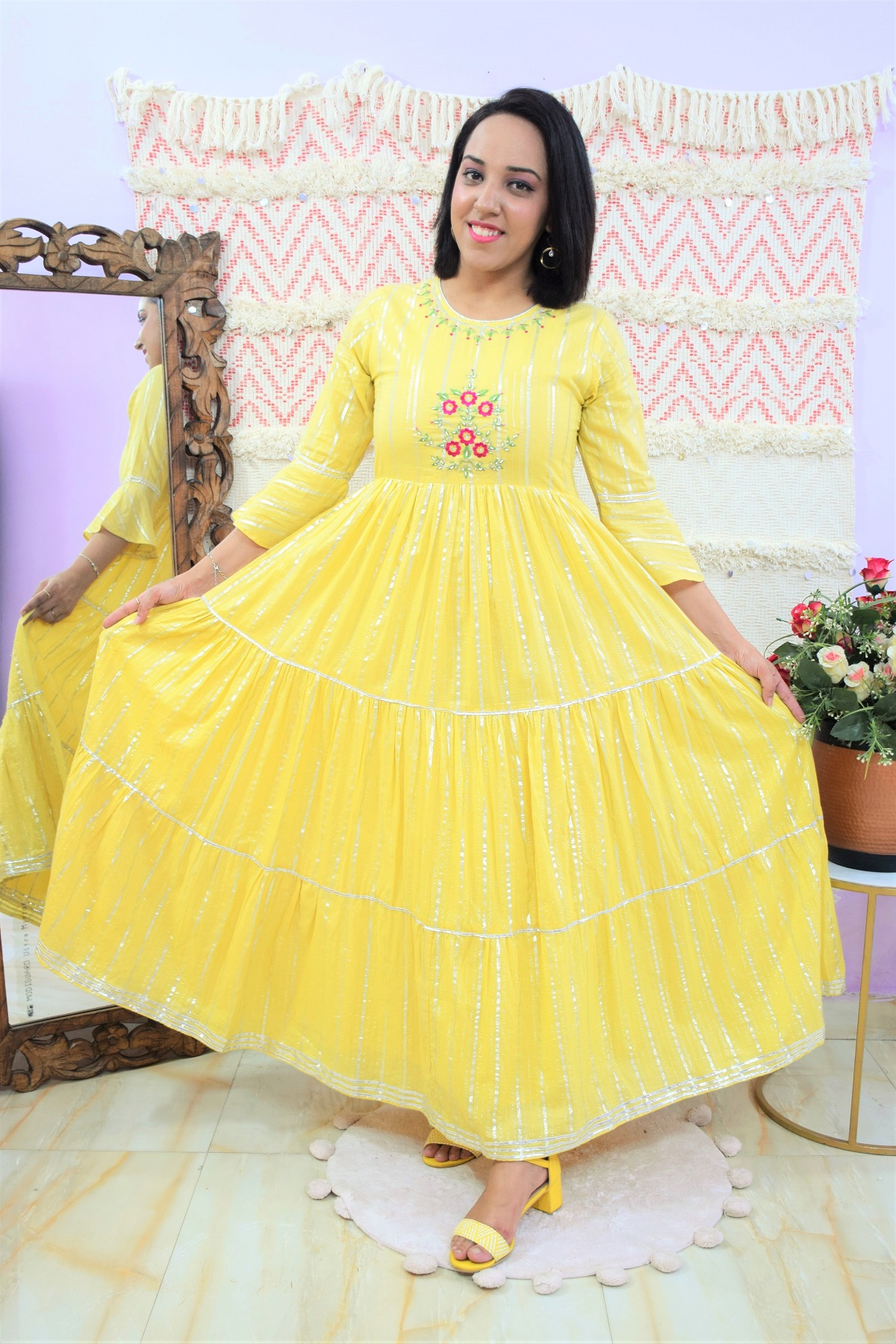 Folle Yellow Shimmer Embroidery Party Wear Maxi Dress