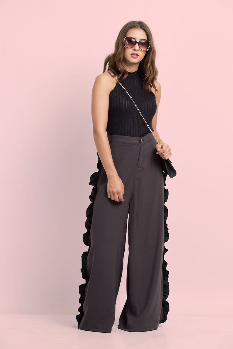 Folle Solid Grey Loose Palazzo Pant With Frill