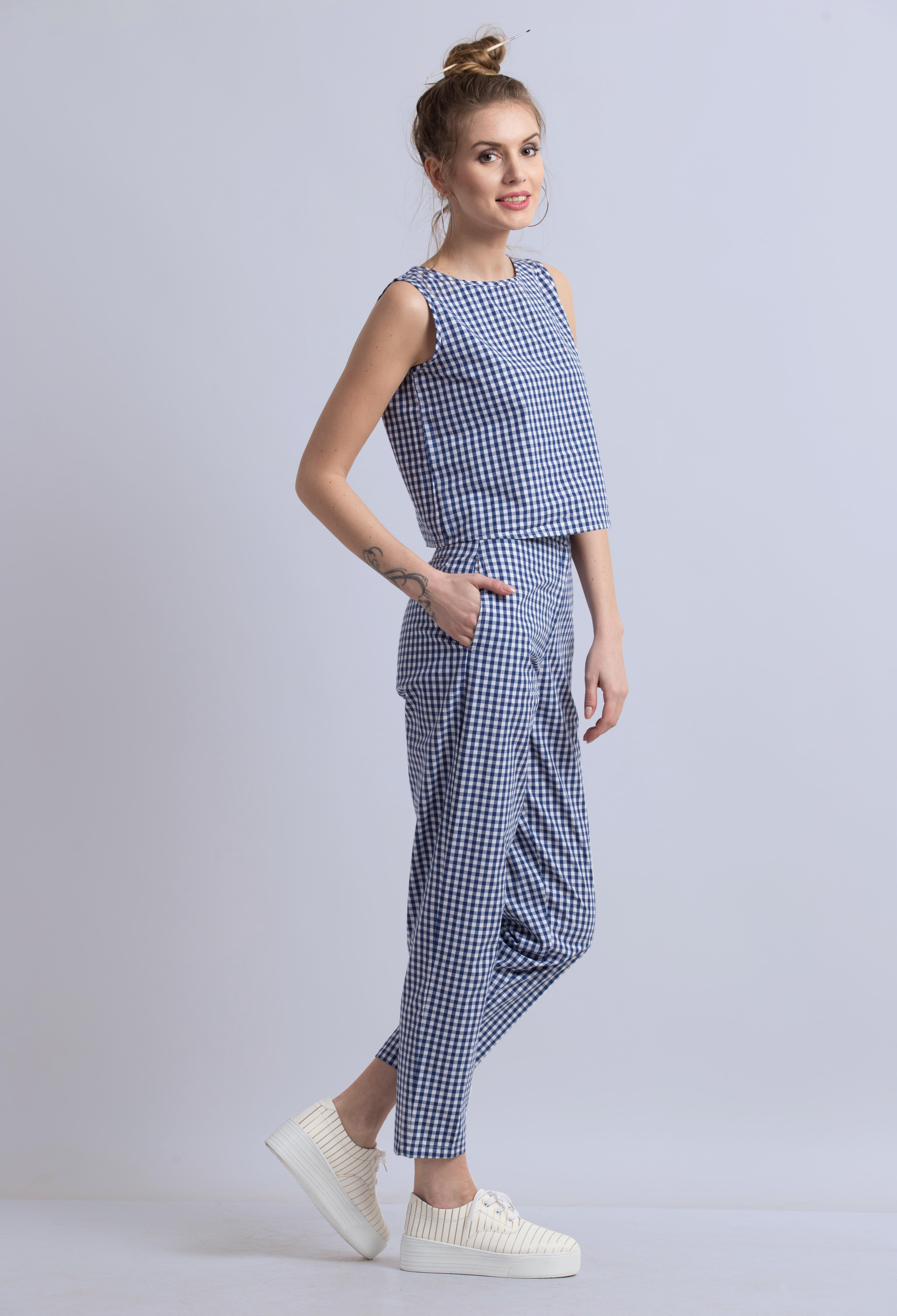 Folle Blue Check Smart Crop Top With Formal Pant Set