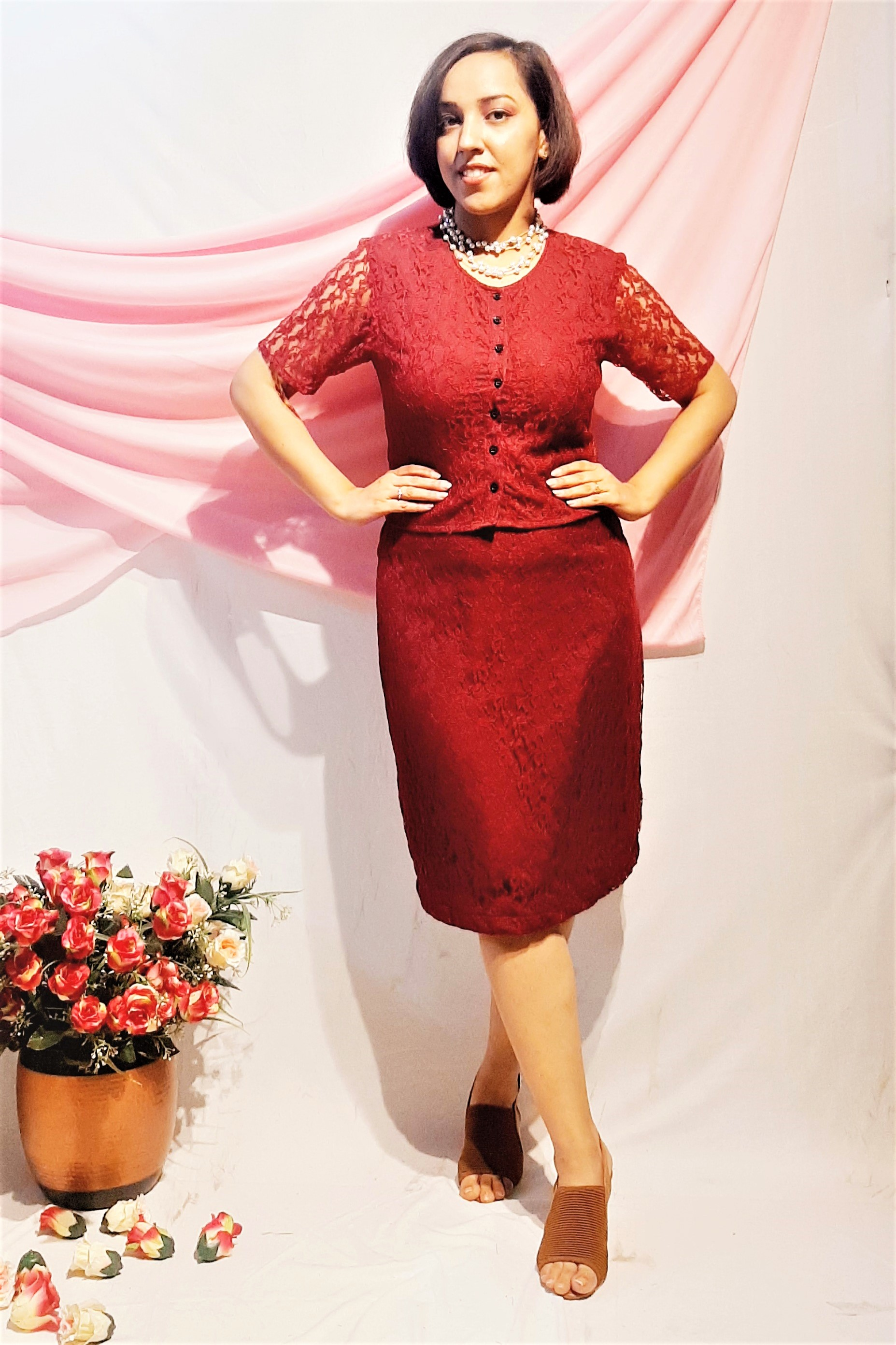 Folle Maroon Lacy Net Party Wear Cocktail Top With Bodycon Skirt Set