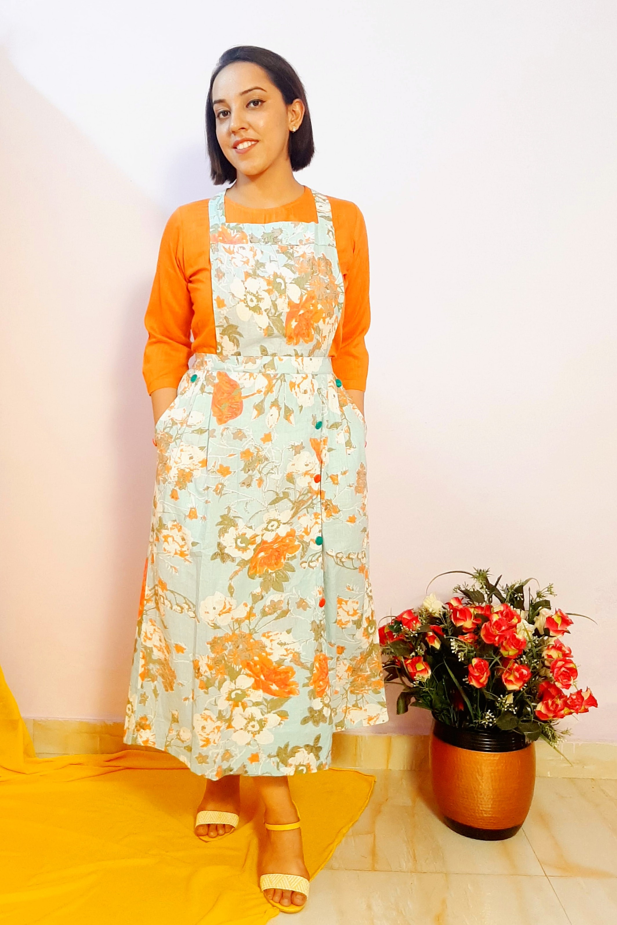 Folle Orange Solid Top With Blue Cotton Floral Dungaree Skirt Set