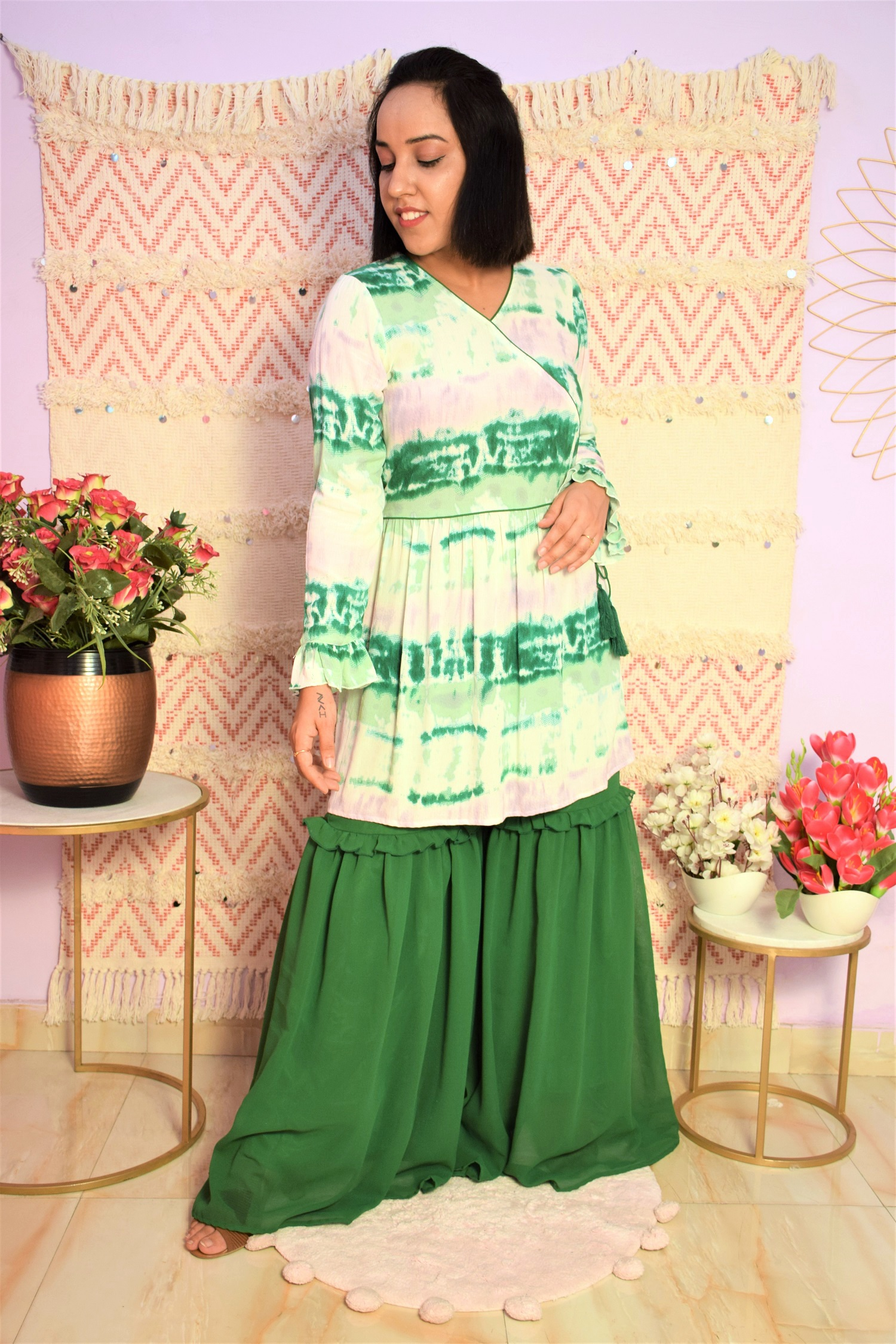 Folle Tie And Dye Angrakha Style Kurta With Green Georgette Sharara