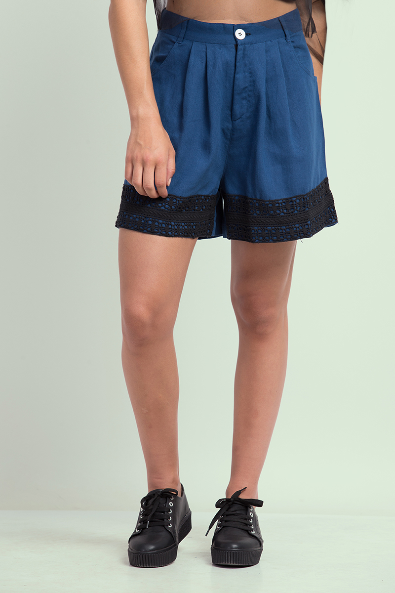 Folle Blue Denim Shorts With Lace