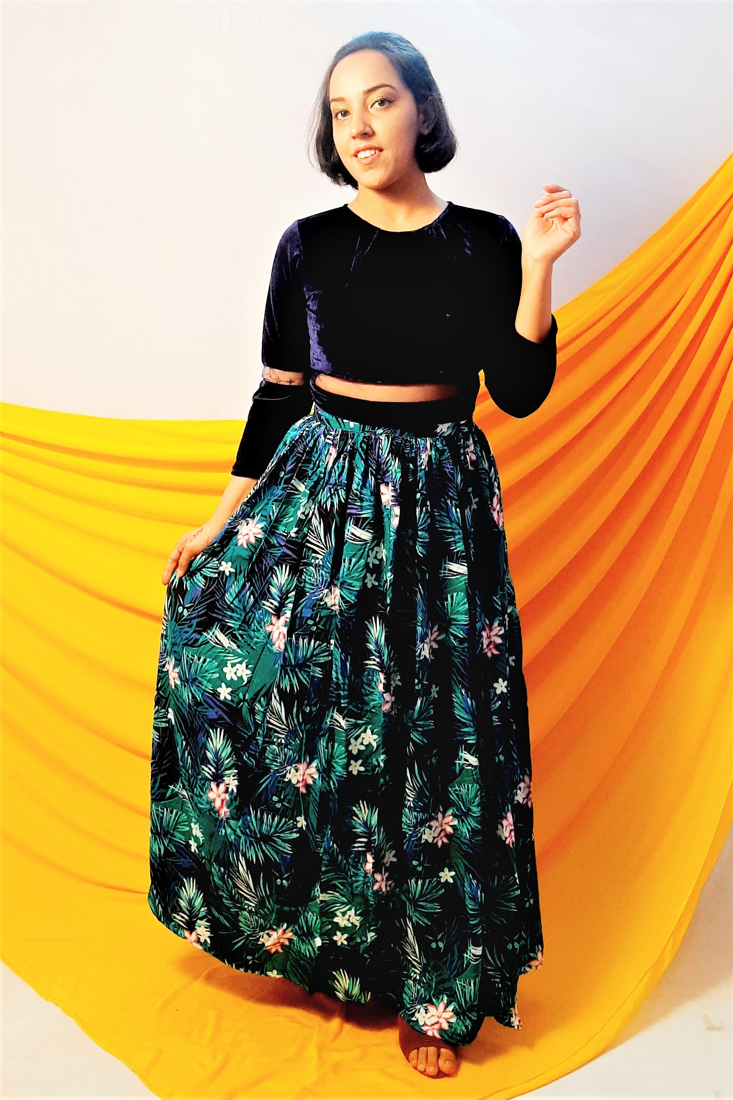 Folle Tropical Printed Cotton Flaired Green Blue Skirt