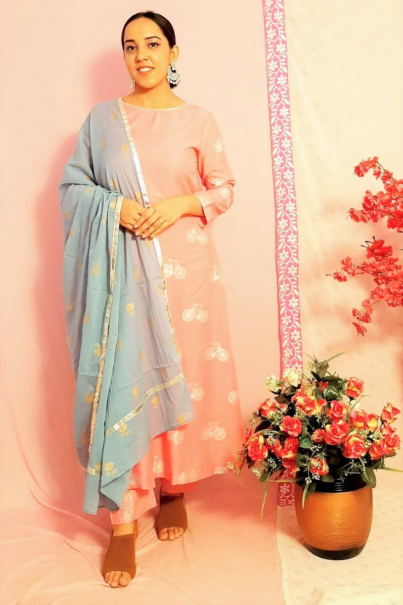 Folle Grey And Pink Flair Cycle Print Suit Set With Pant And Dupatta