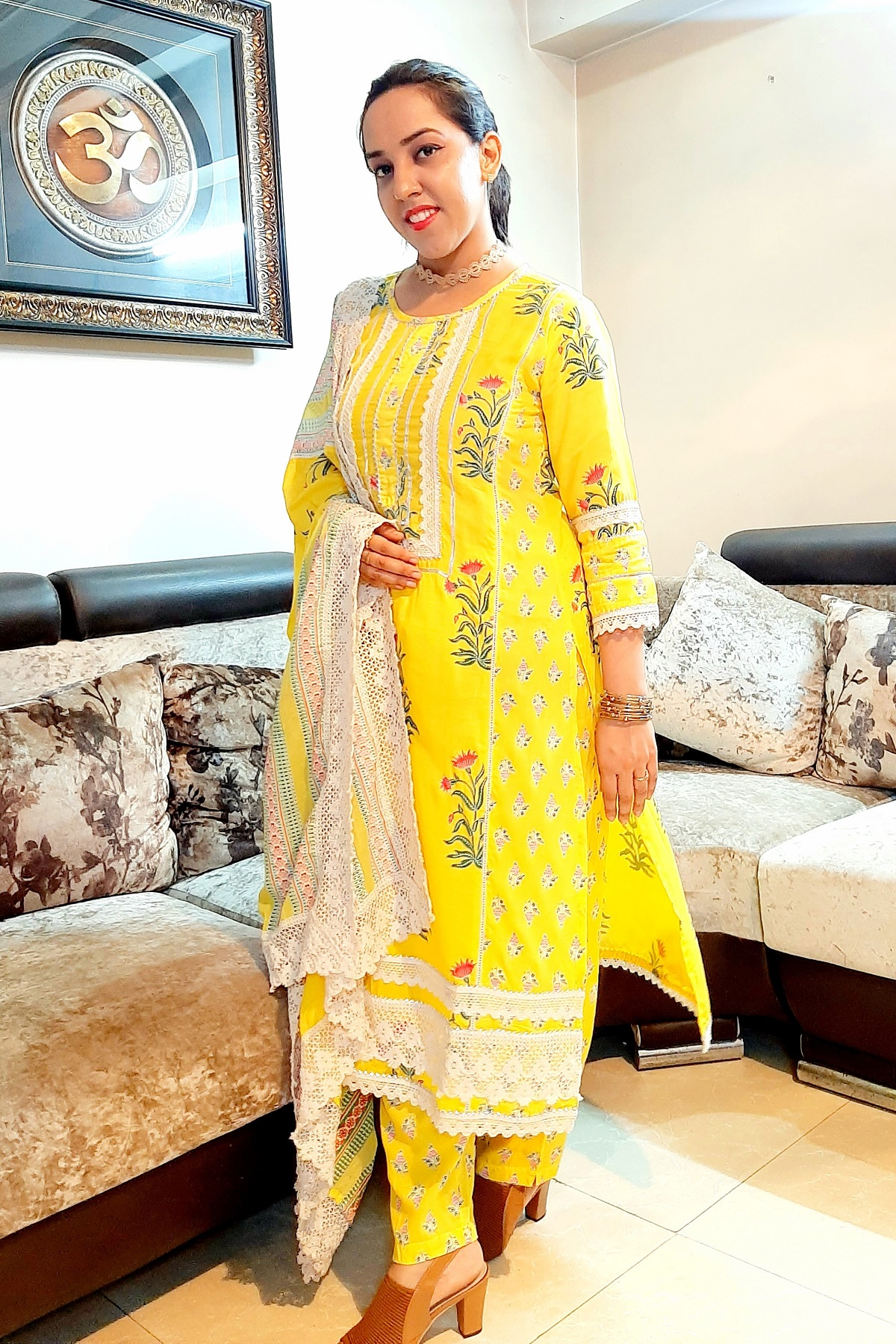 Folle Yellow Printed Lacy Suit Set With Dupatta