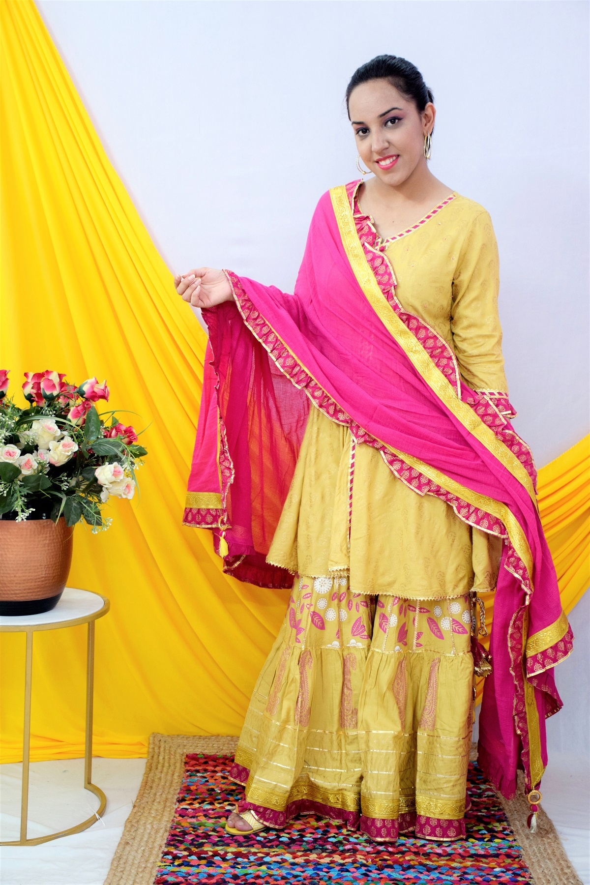 Folle Golden And Pink Party Wear Sharara Set