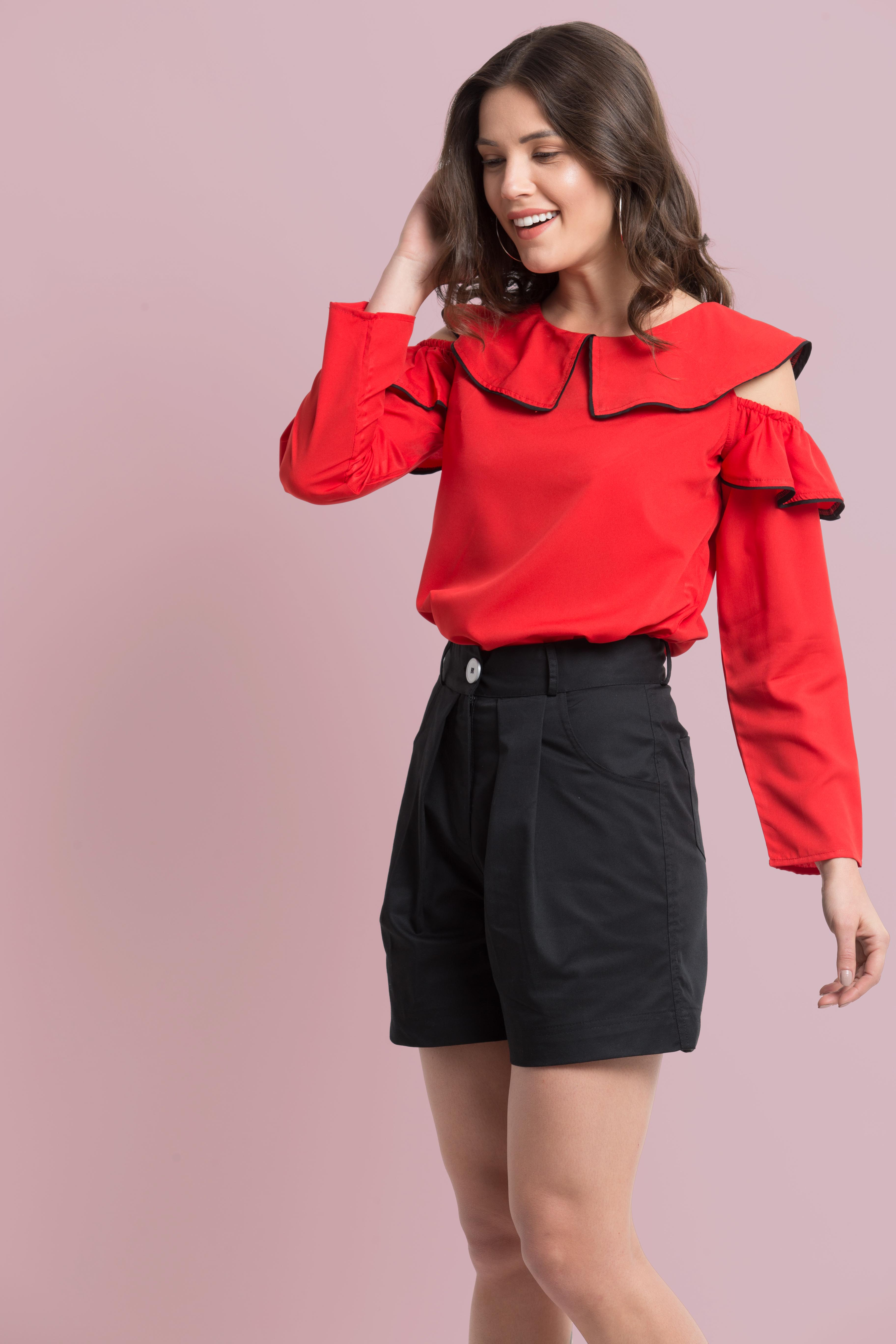 Folle Red Solid Cold Shoulder Casual Top
