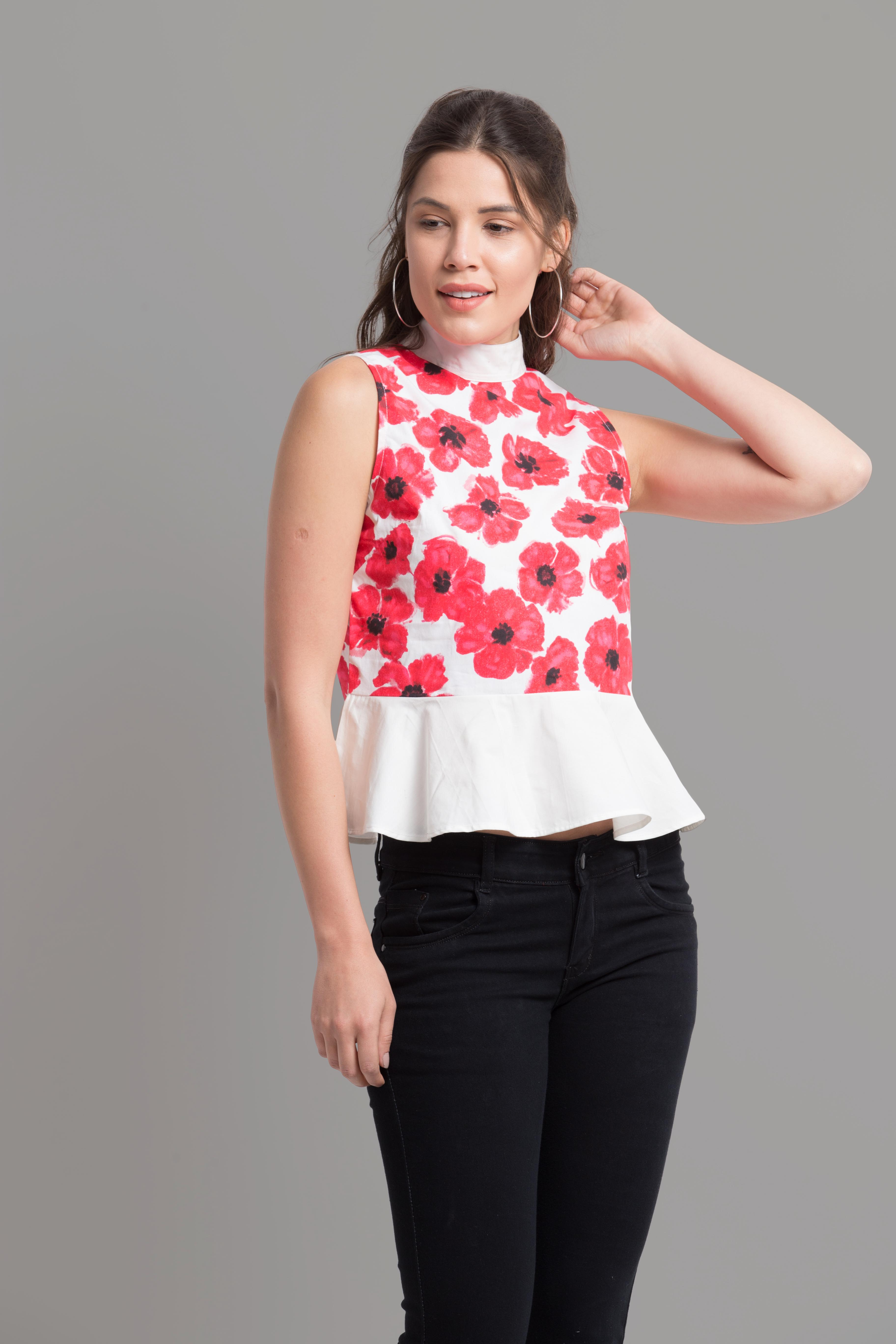 Folle White Floral Print High Neck Sleevless Cotton Casual Top