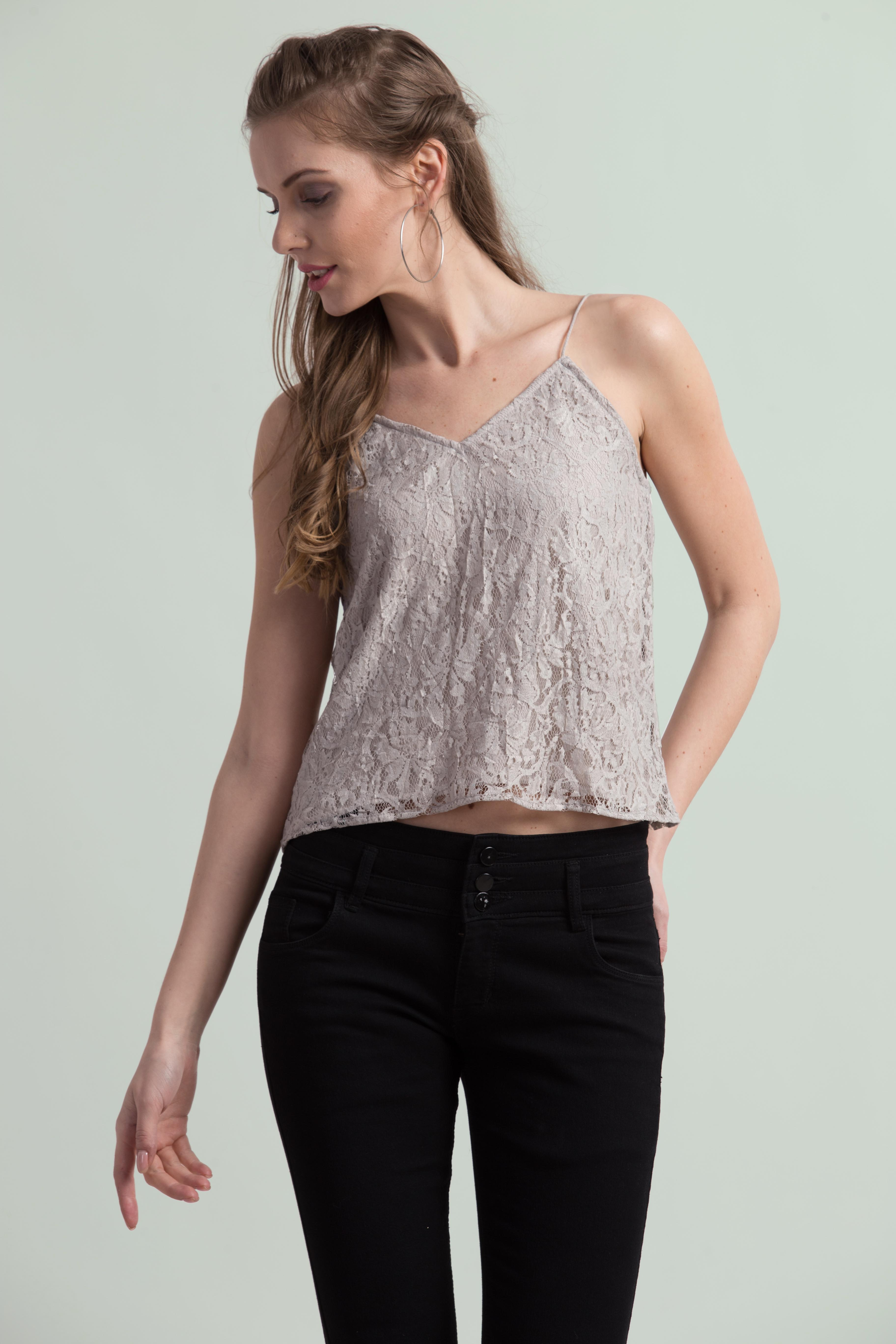 Folle Grey Lace Spaghetti Party Top