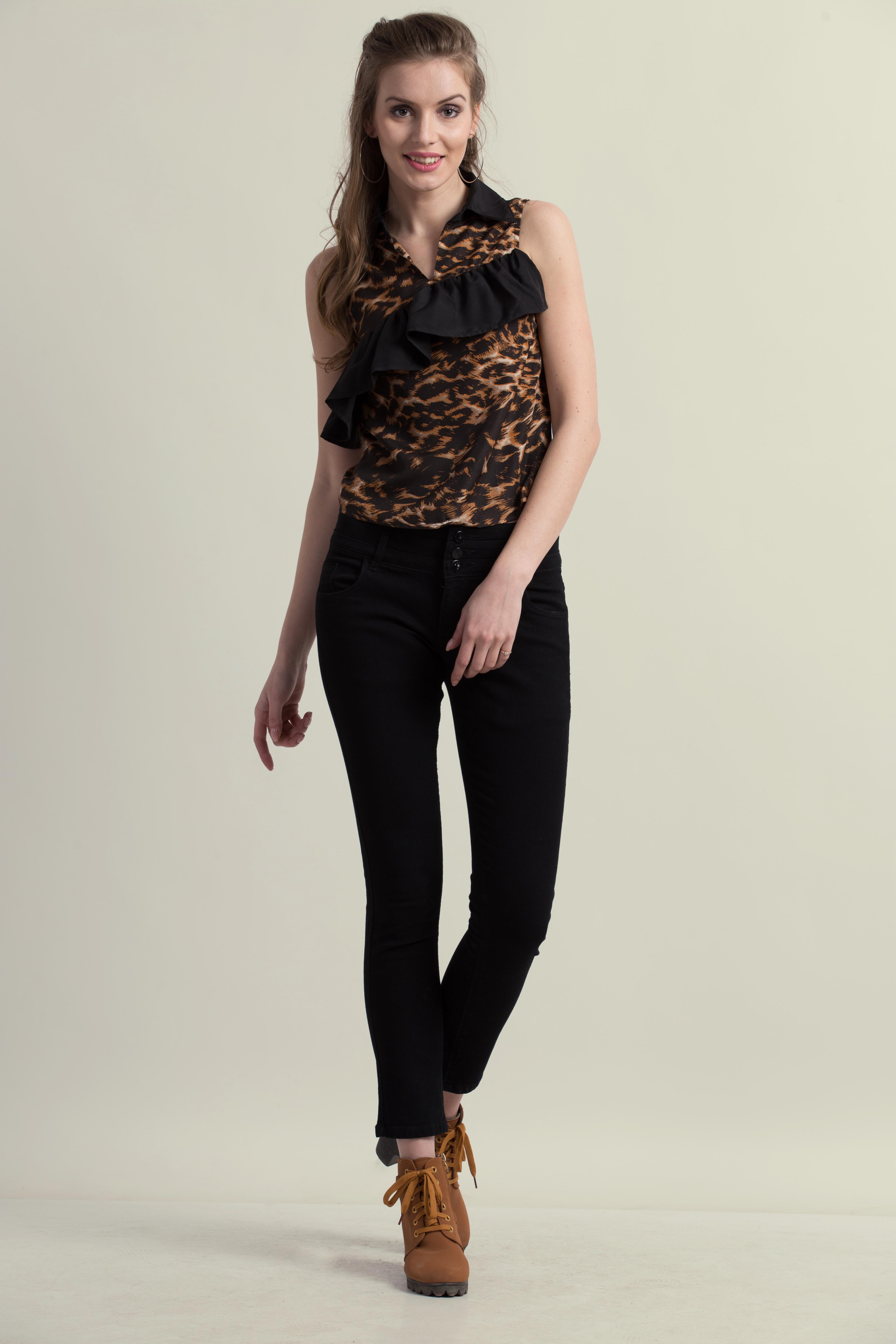 Folle Brown Animal Print Frill Party Wear Top