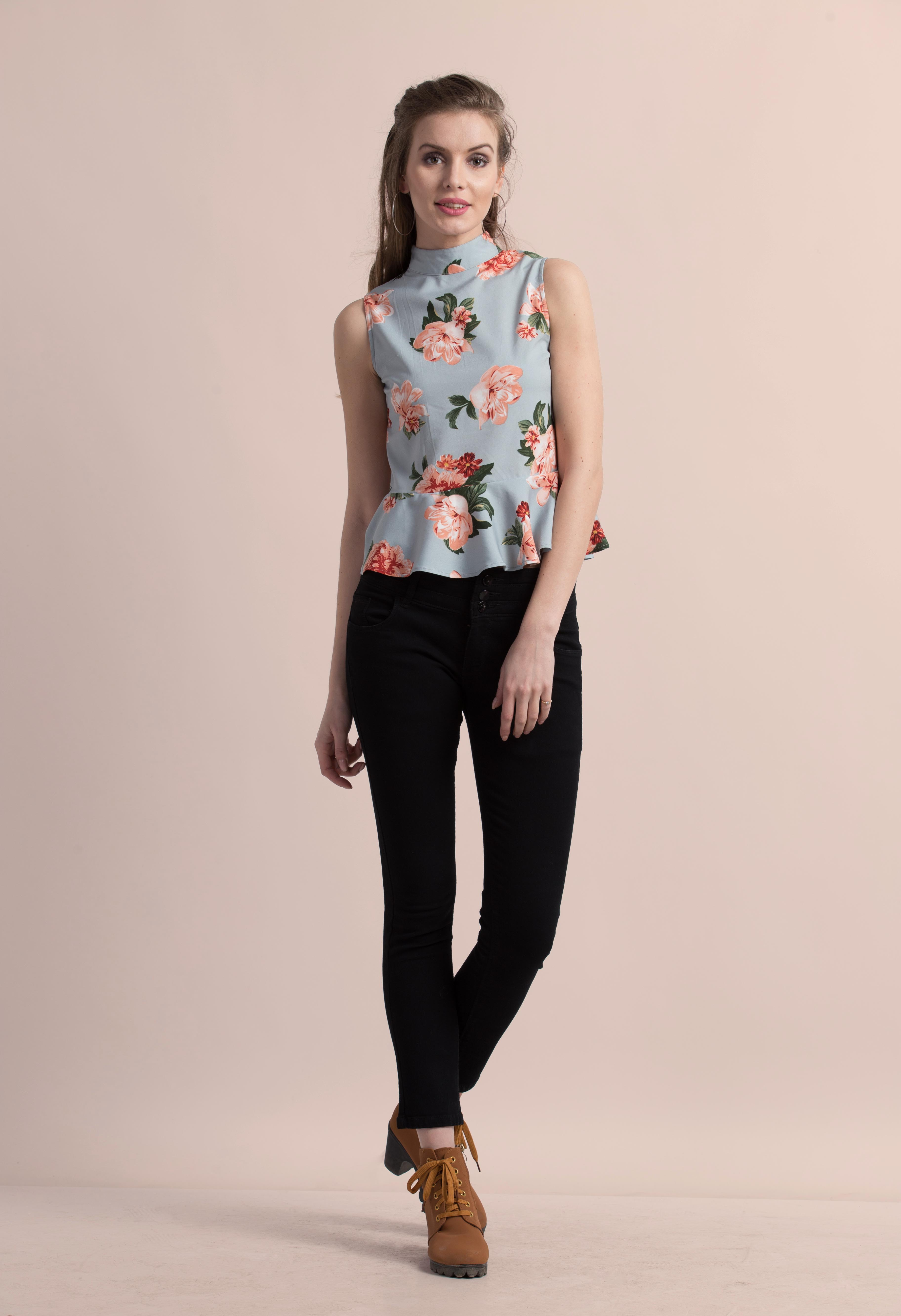 Folle Floral Print Blue High Neck Party Top