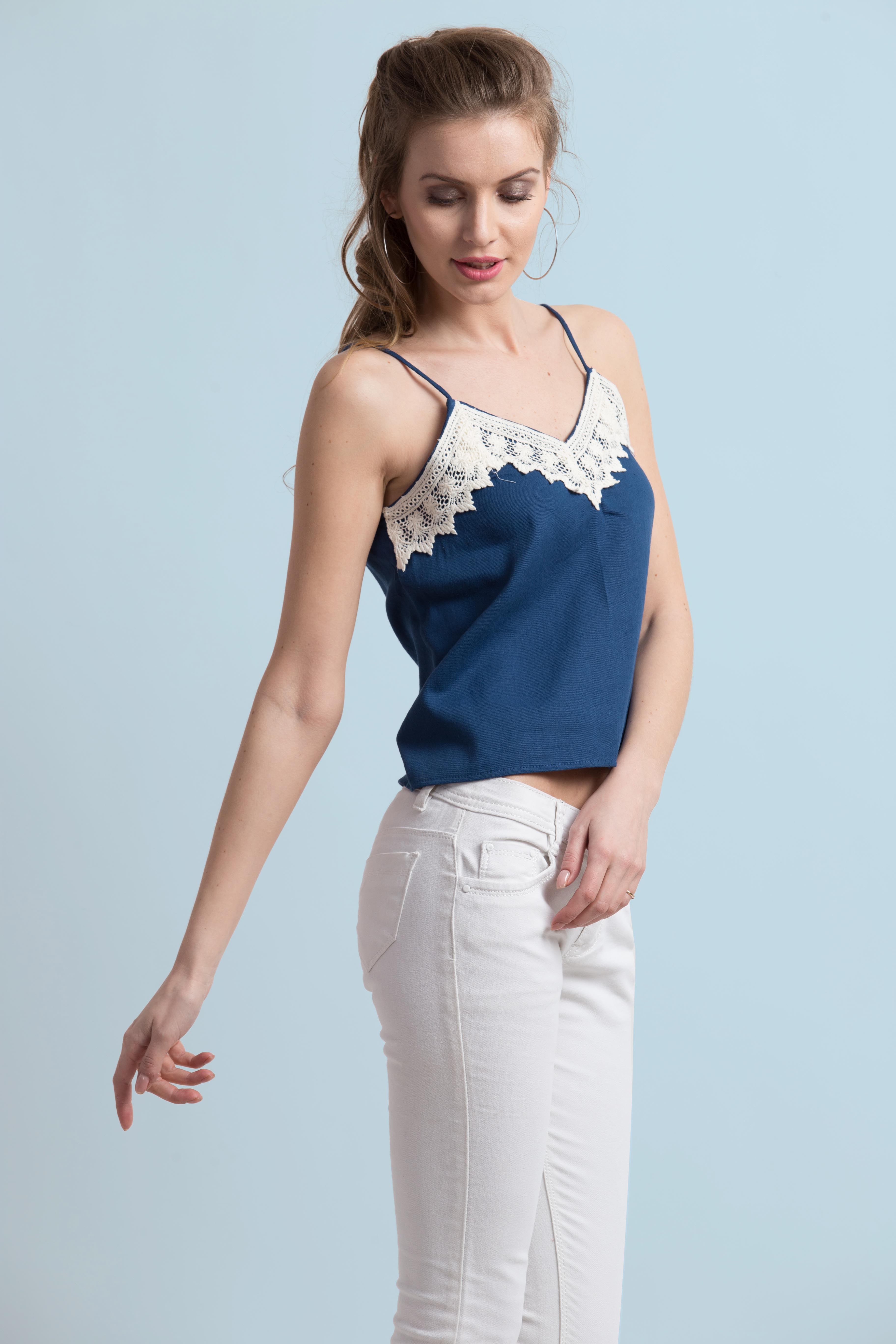 Folle Solid Blue Denim With Lace Spaghetti Party Wear Top
