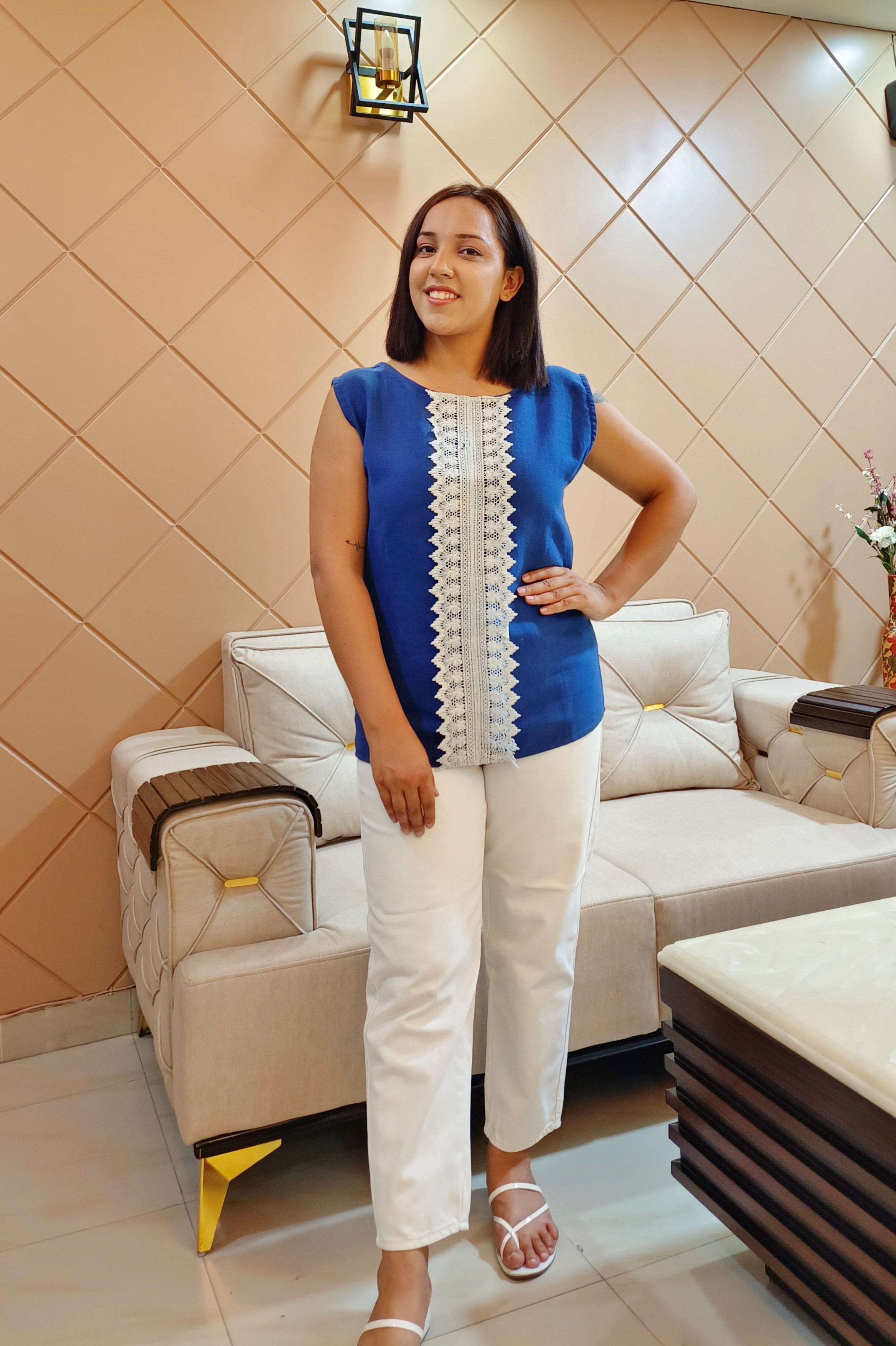 Folle Solid Blue Denim With Lace Smart Top