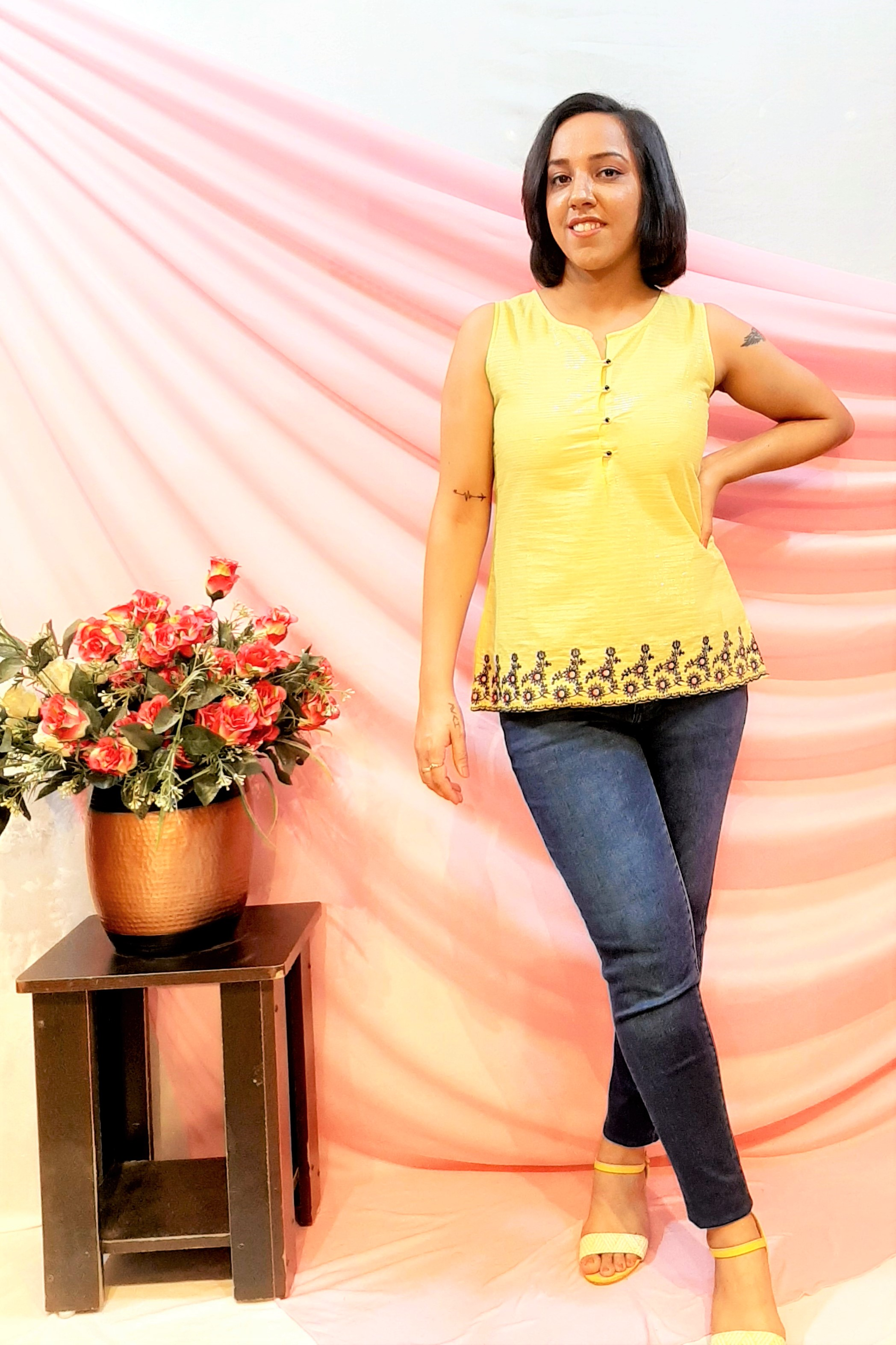 Folle Lemon Gold Embroidered Cotton Summer Top