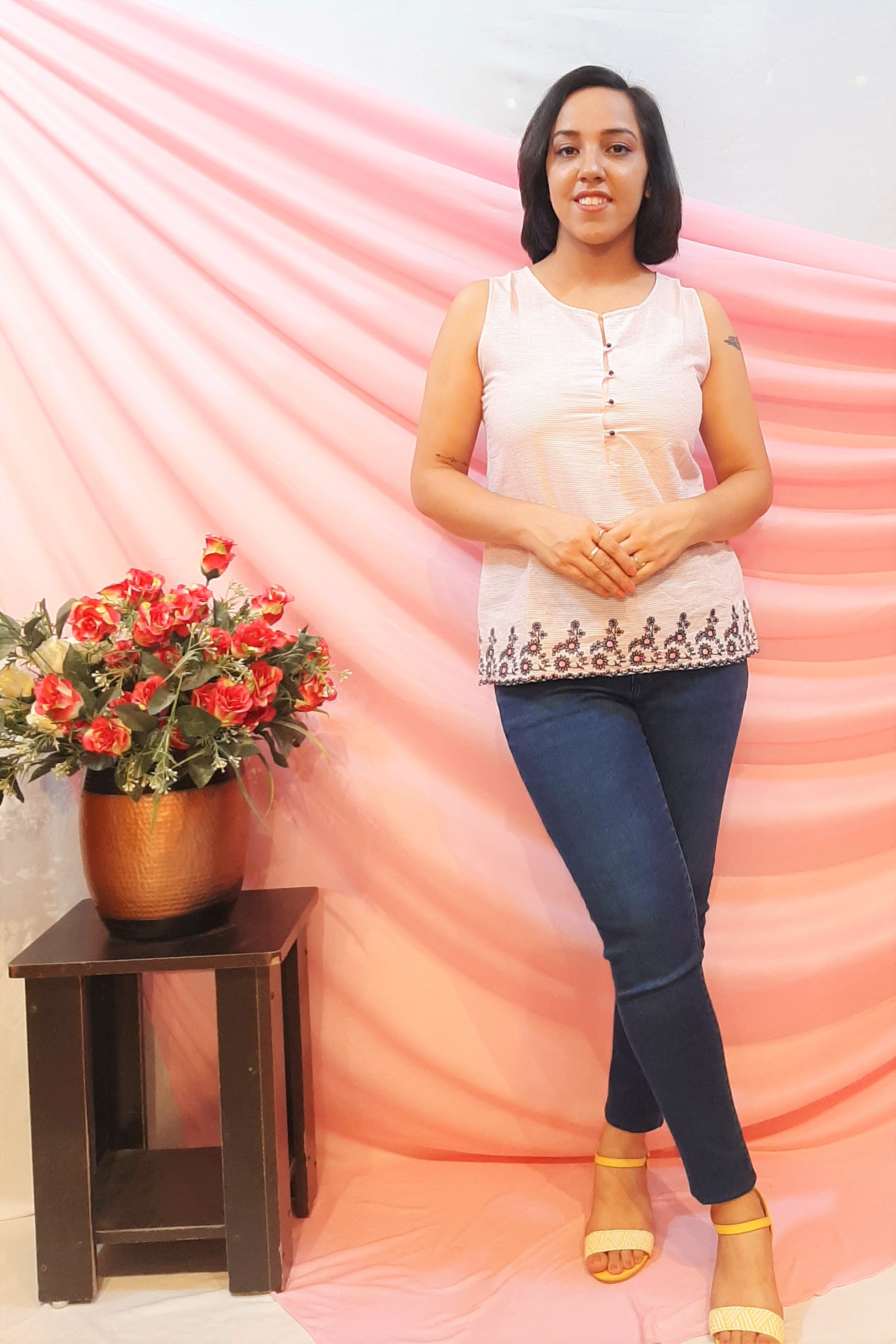 Folle Baby Pink Embroidered Cotton Summer Top
