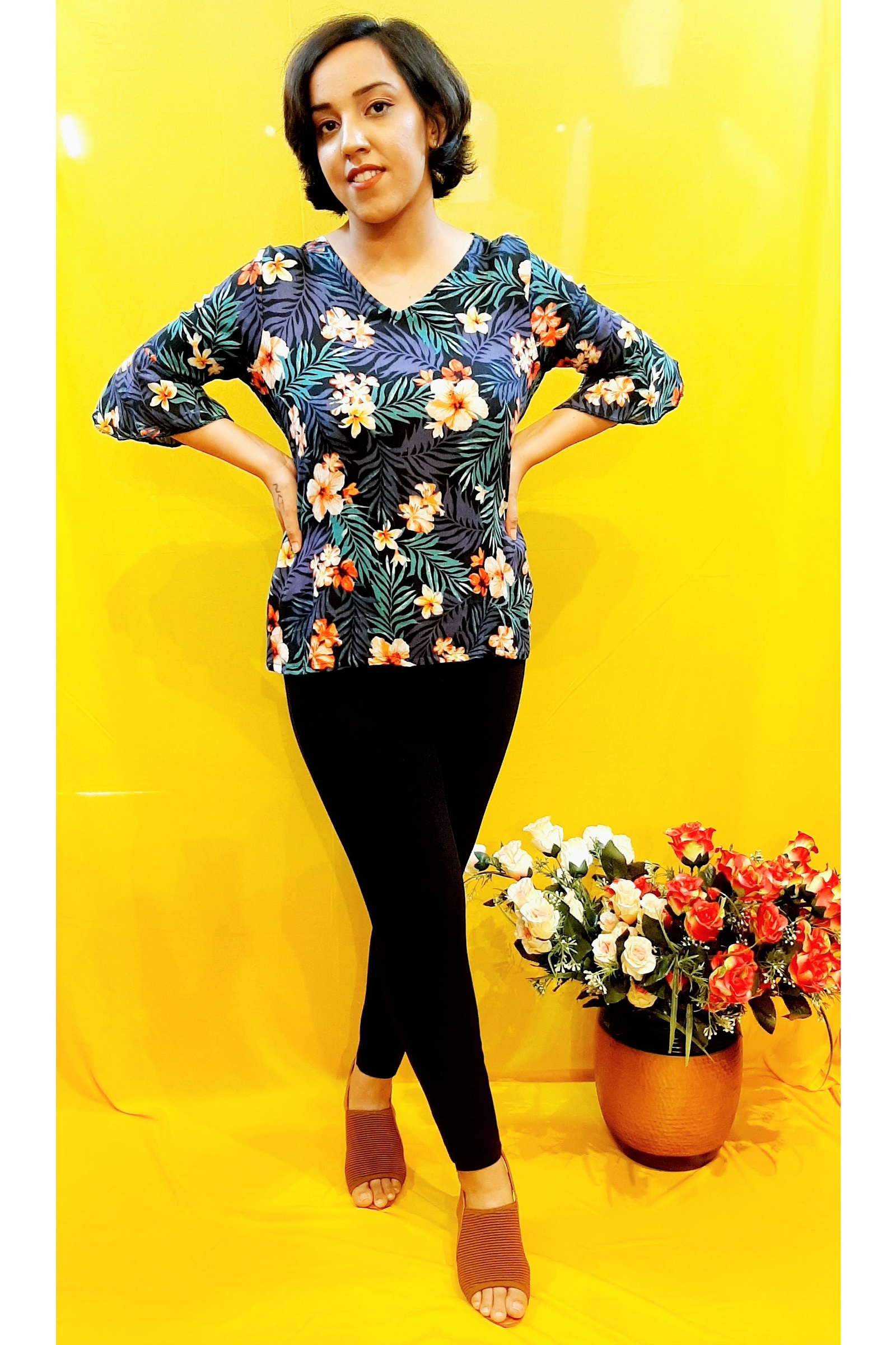 Folle Tropical Print Smart Causal Top For Women