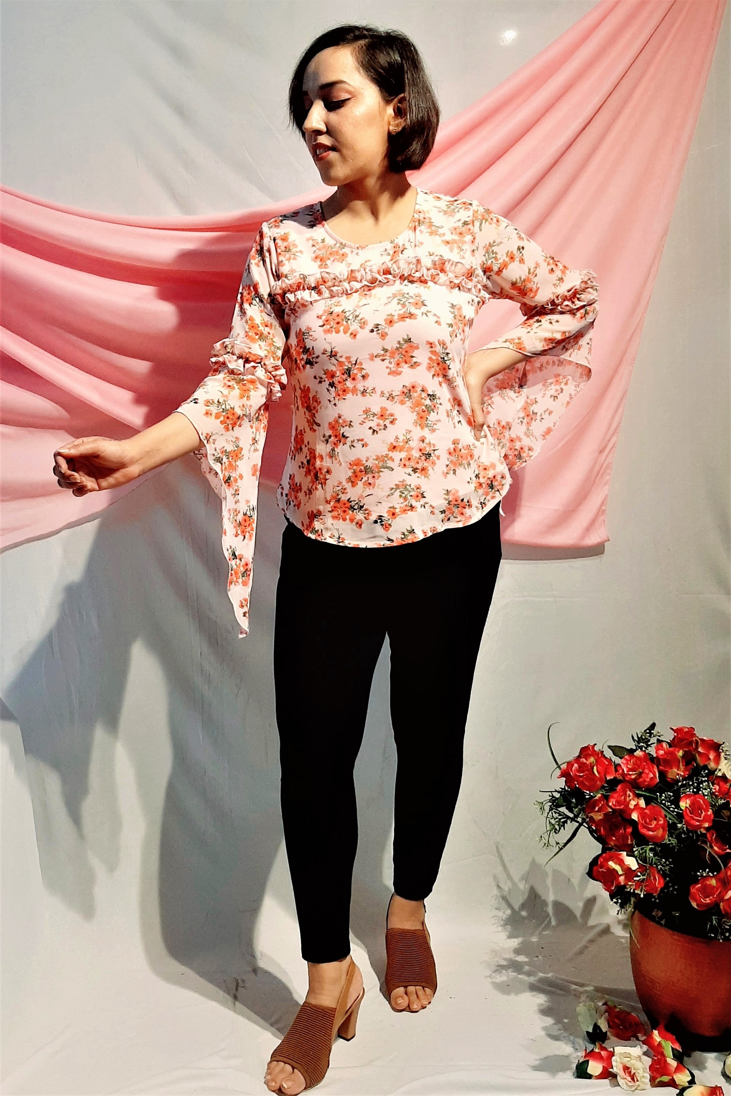 Folle Pink Floral Top With Long Stylish Sleeves