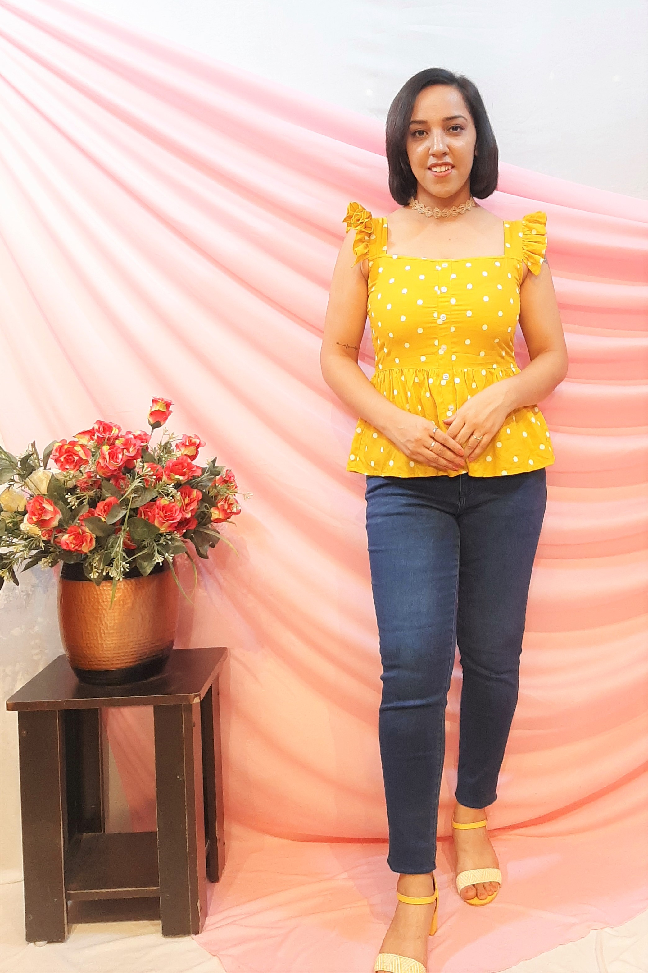 Folle Yellow Polka Dot Frilled And Flair Waist Line Top