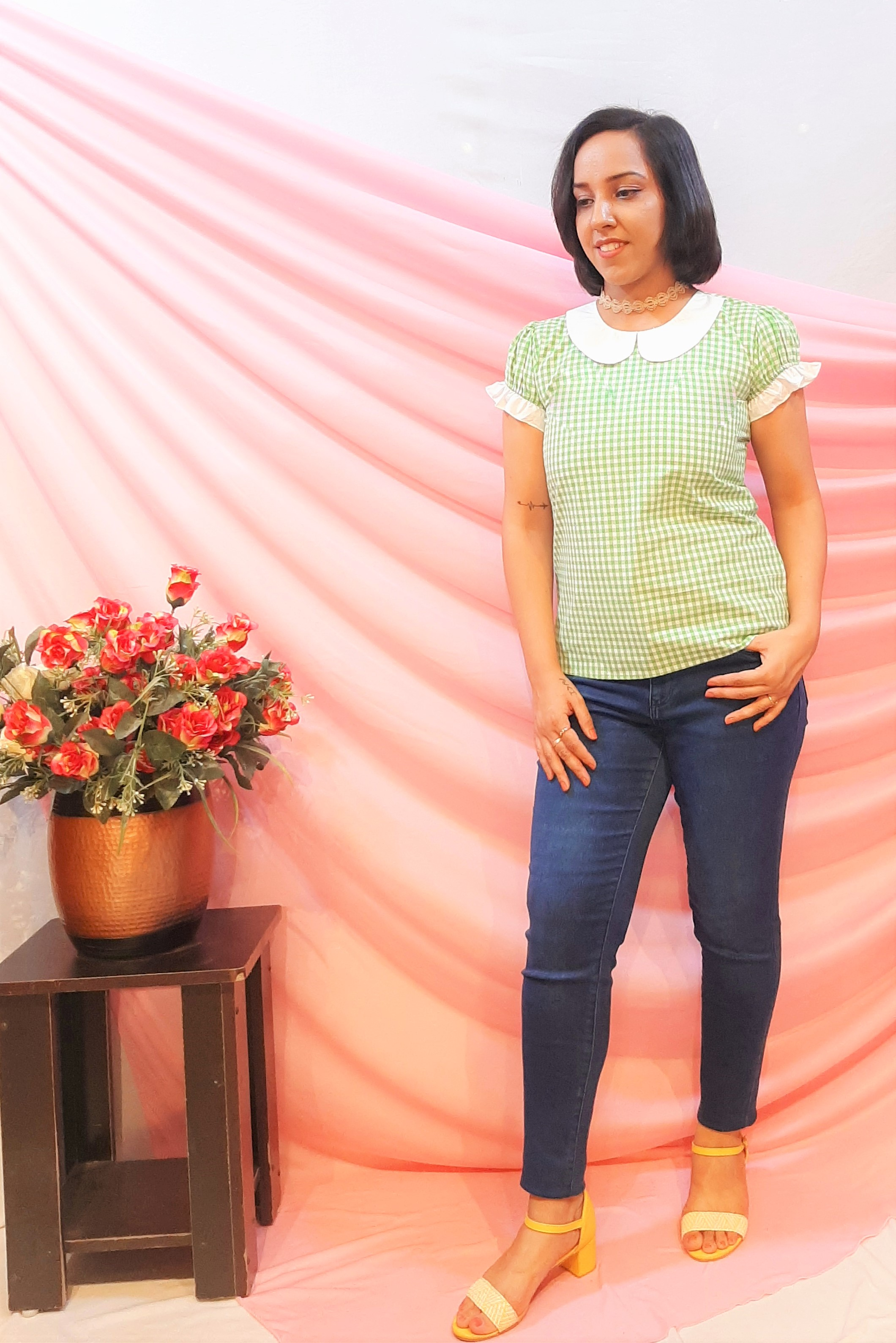 Folle Check Green Cotton Top With Peter Pan Collar For Work