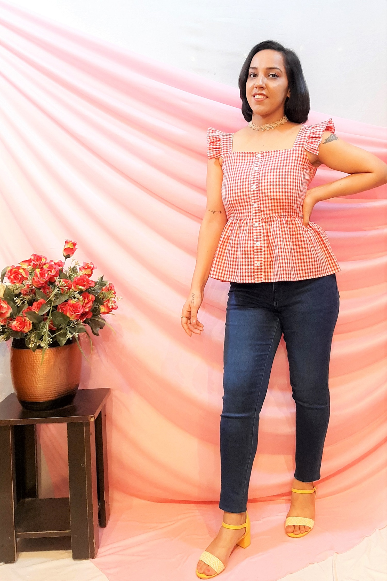 Folle Red Check Cotton Top With Frill And Flair