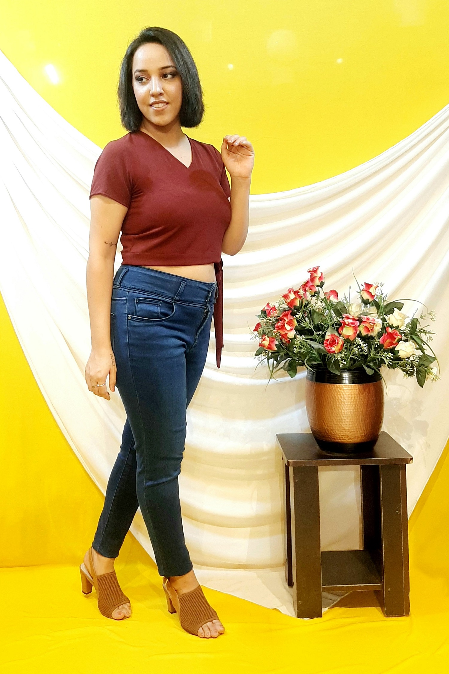 Folle Wine Crop Top With Belt At Waist For Party